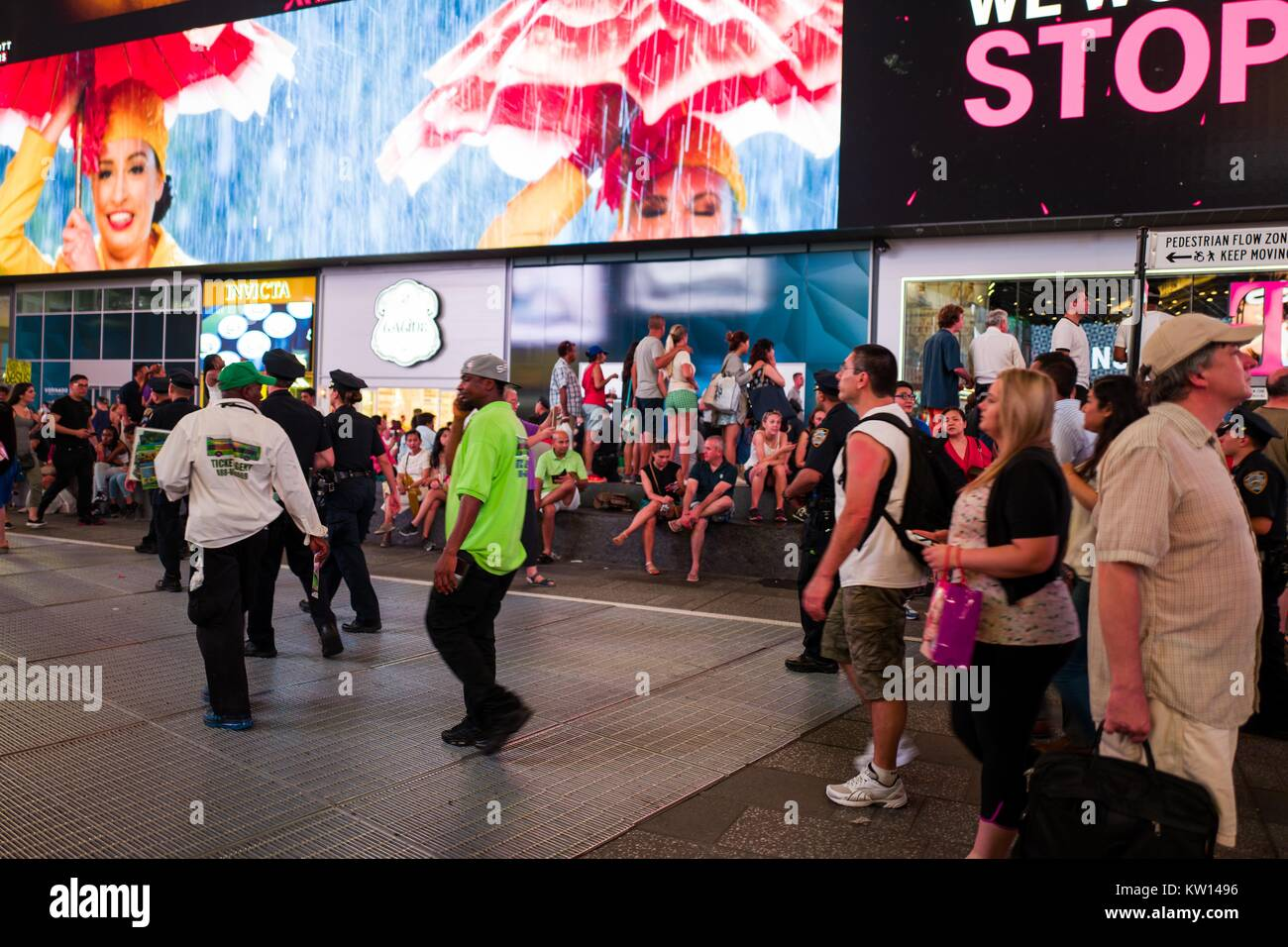 During a Black Lives Matter protest in New York City's Times Square following the shooting deaths of Alton Sterling - Stock Image