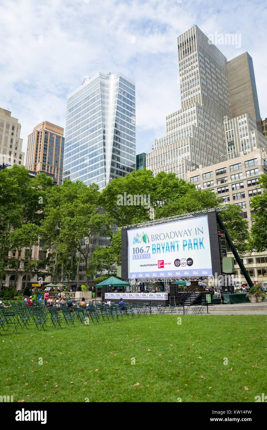 Visitors gather to reserve seats for Broadway in Bryant park, Manhattan, New York City, New York, July, 2016. - Stock Image