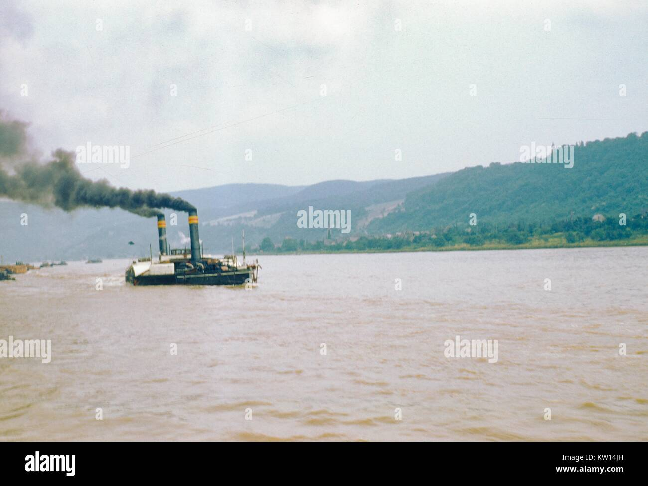 Steamship on the Rhine river, Germany, 1952. - Stock Image