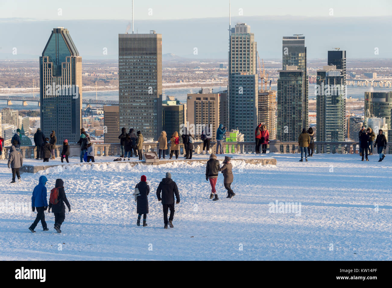 Montreal, CA - 26/12/2017: People at the Kondiaronk Belvedere located at the summit of Mont Royal. The belvedere - Stock Image