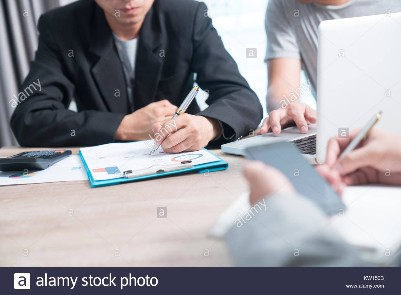 To the job interview Business people talking in modern office. Close the dream job. - Stock Image