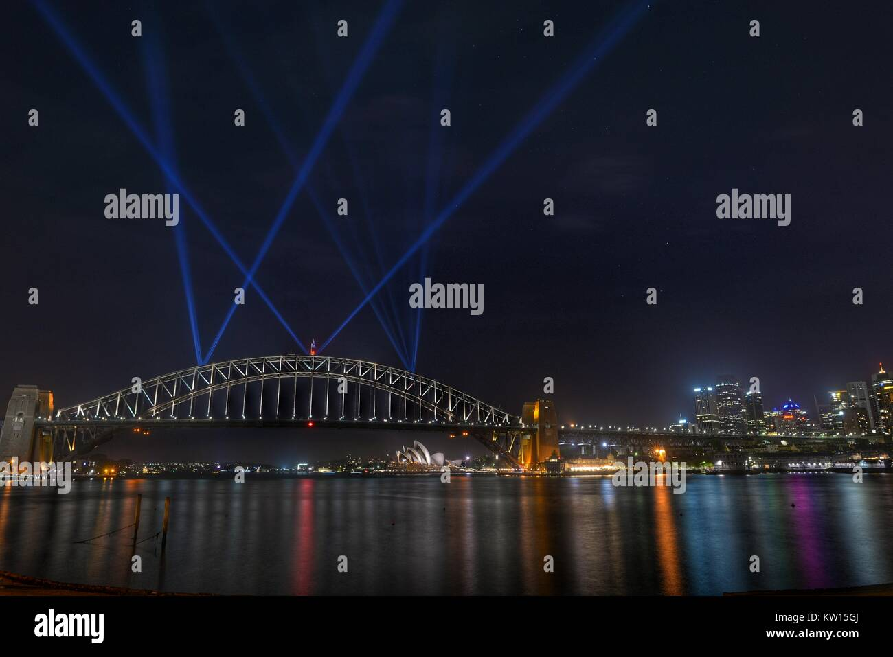 Testing the lights on the Sydney Harbour Bridge for New Years 2018 - Stock Image