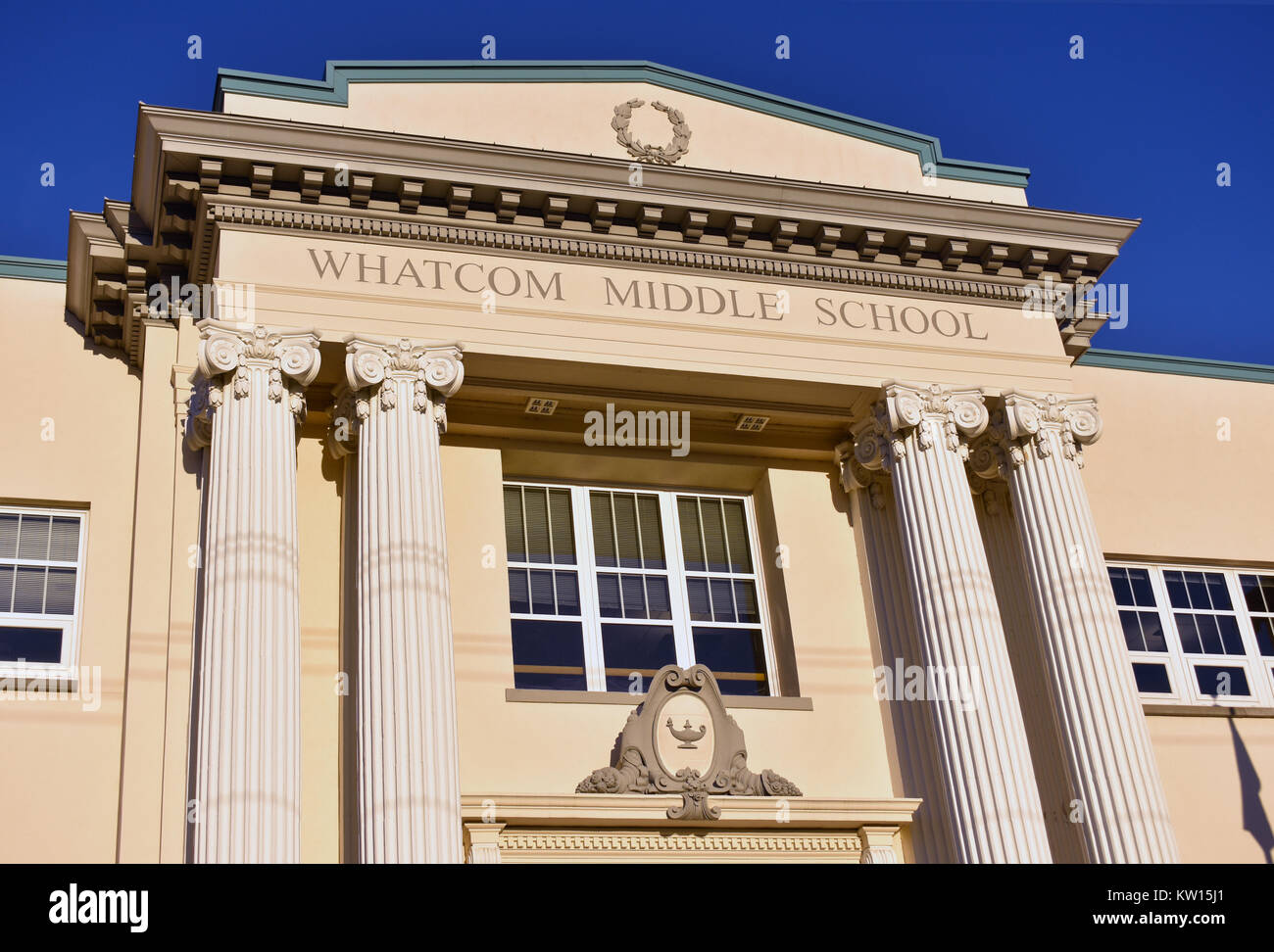 Whatcom Middle School in Bellingham, Washinogton, USA - The school had a major fire and had to be rebuilt - building - Stock Image