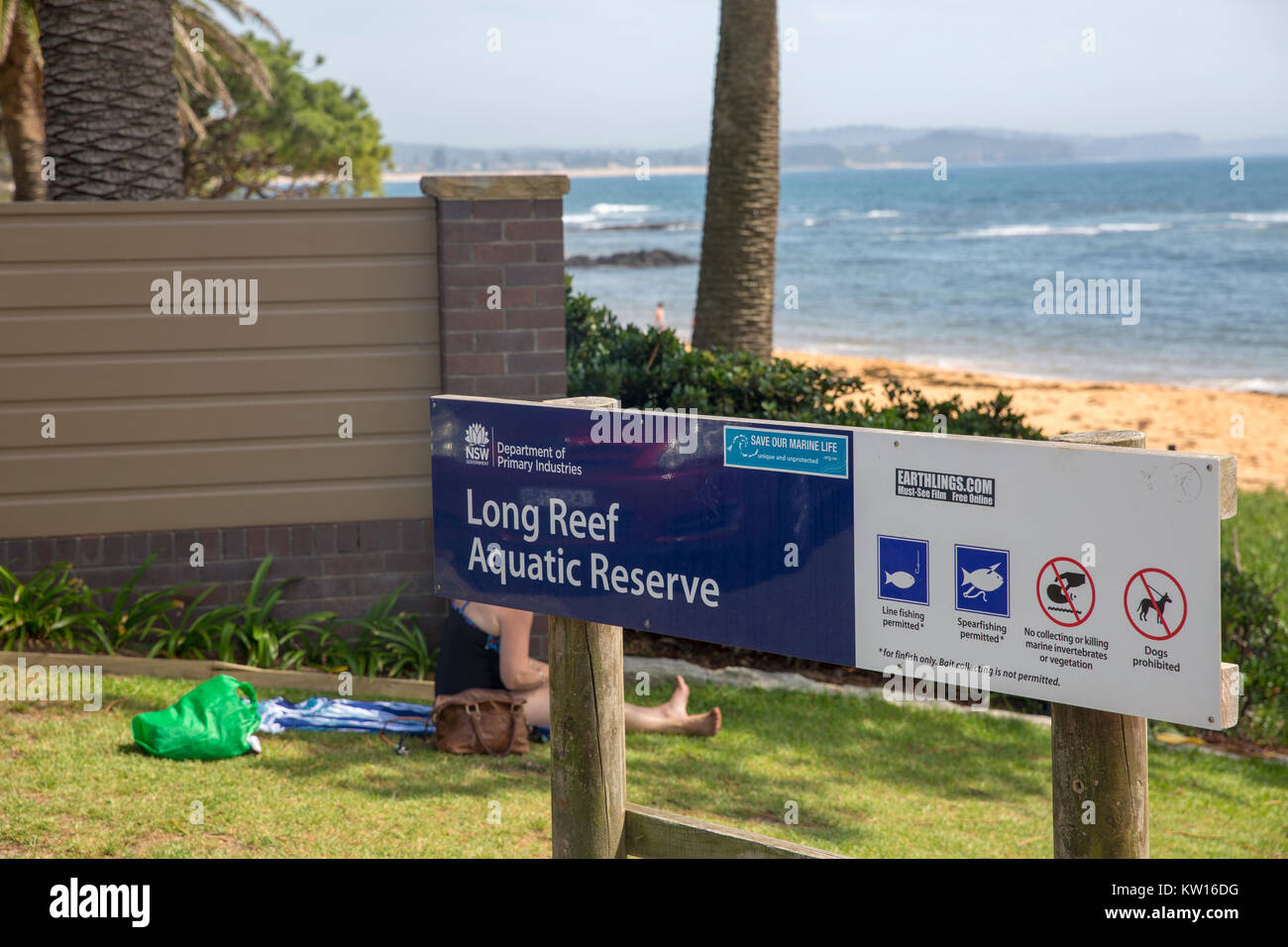 Sign at Long Reef Acquatic Reserve in Collaroy on Sydney