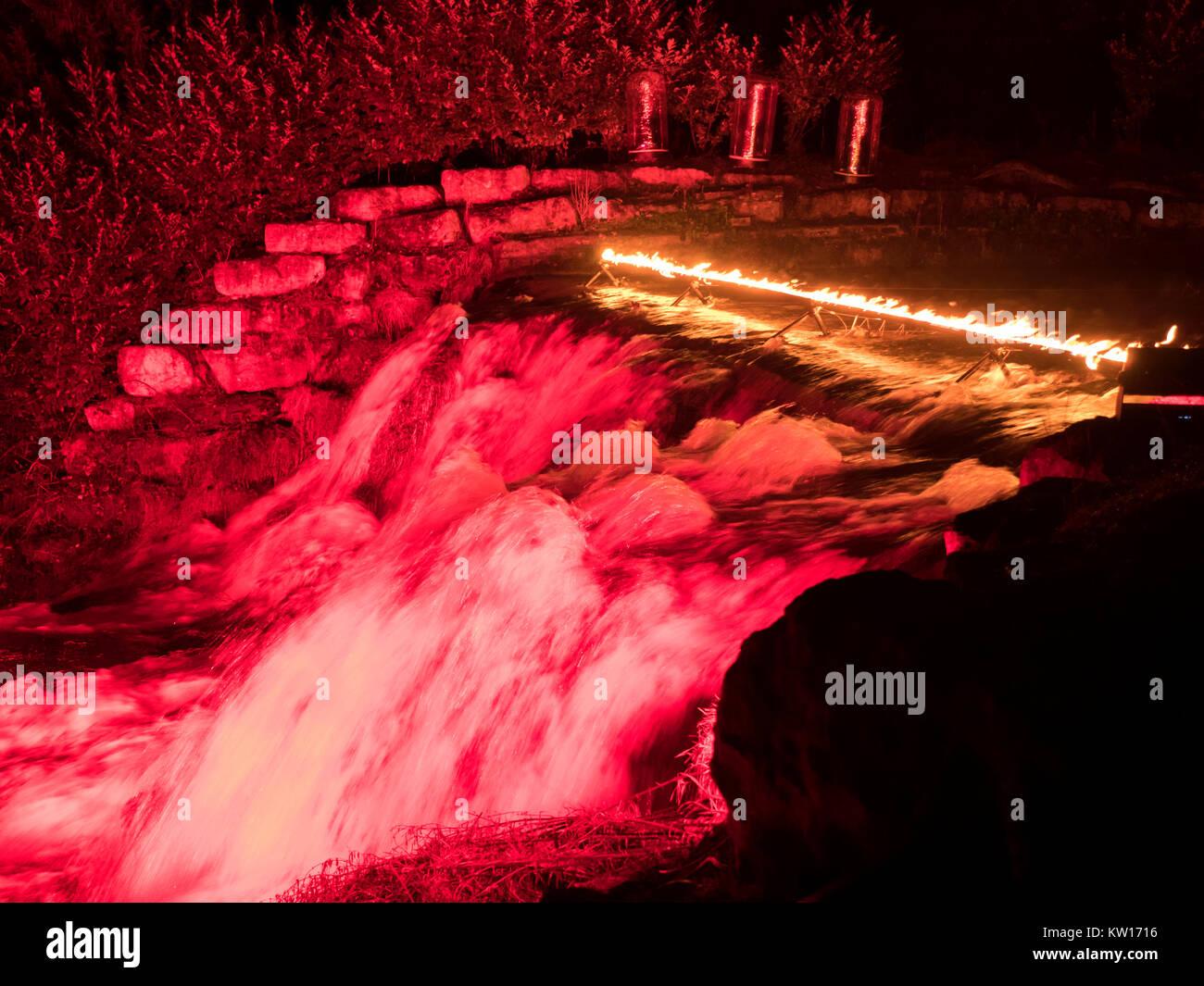 Blenheim Palace Christmas light trail 2017 - Stock Image