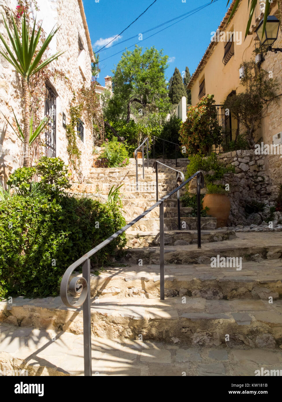 steps in alley in Lliber, Jalon Valley, Alicante, Spain - Stock Image