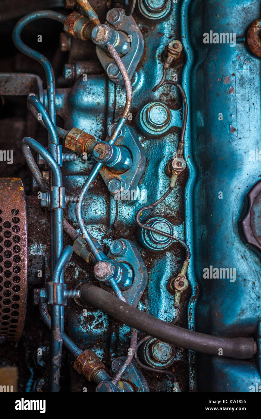 Diesel Engine, Thornycroft, 4 cylinders, top down view. Engine is from 1984 and urrently installed in our narrow - Stock Image