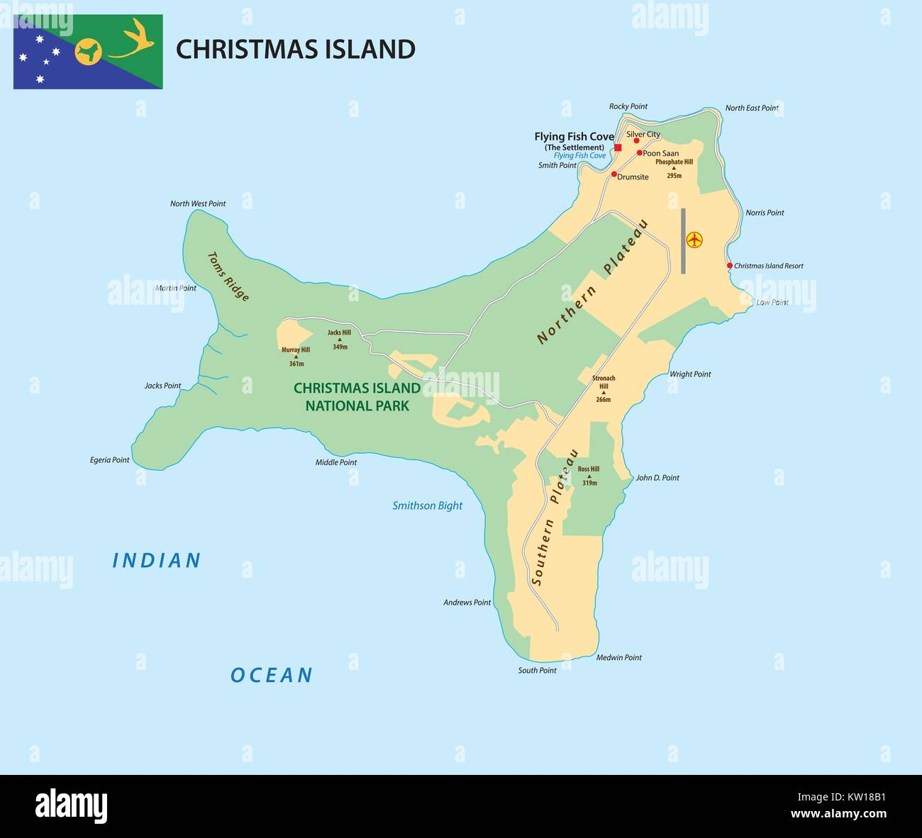 Vector map of the territory of Christmas Island with flag Stock Vector Art & Illustration ...