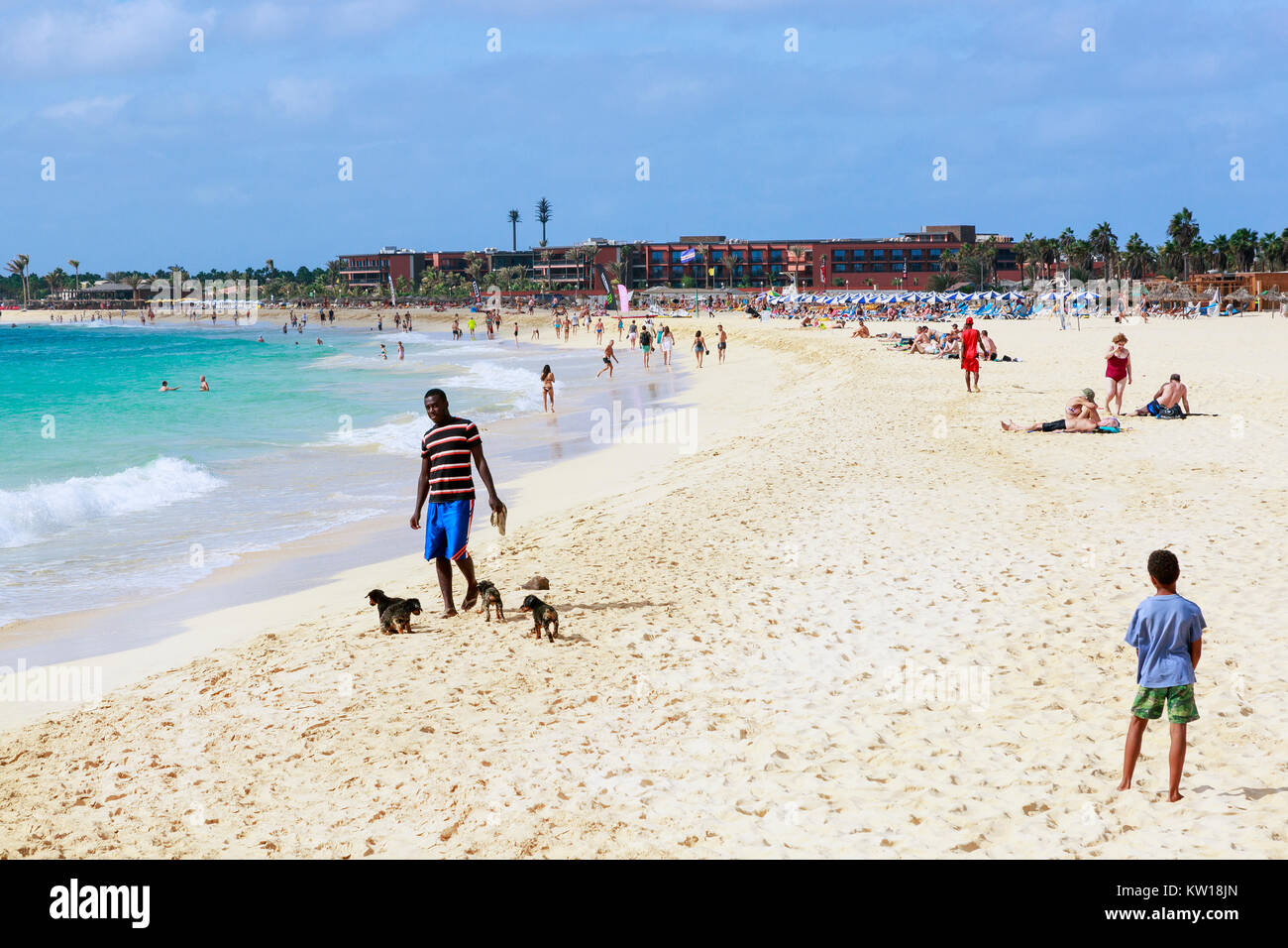 View of the public beach at Santa Maria, Sal island, Salina, Cape Verde, Africa - Stock Image
