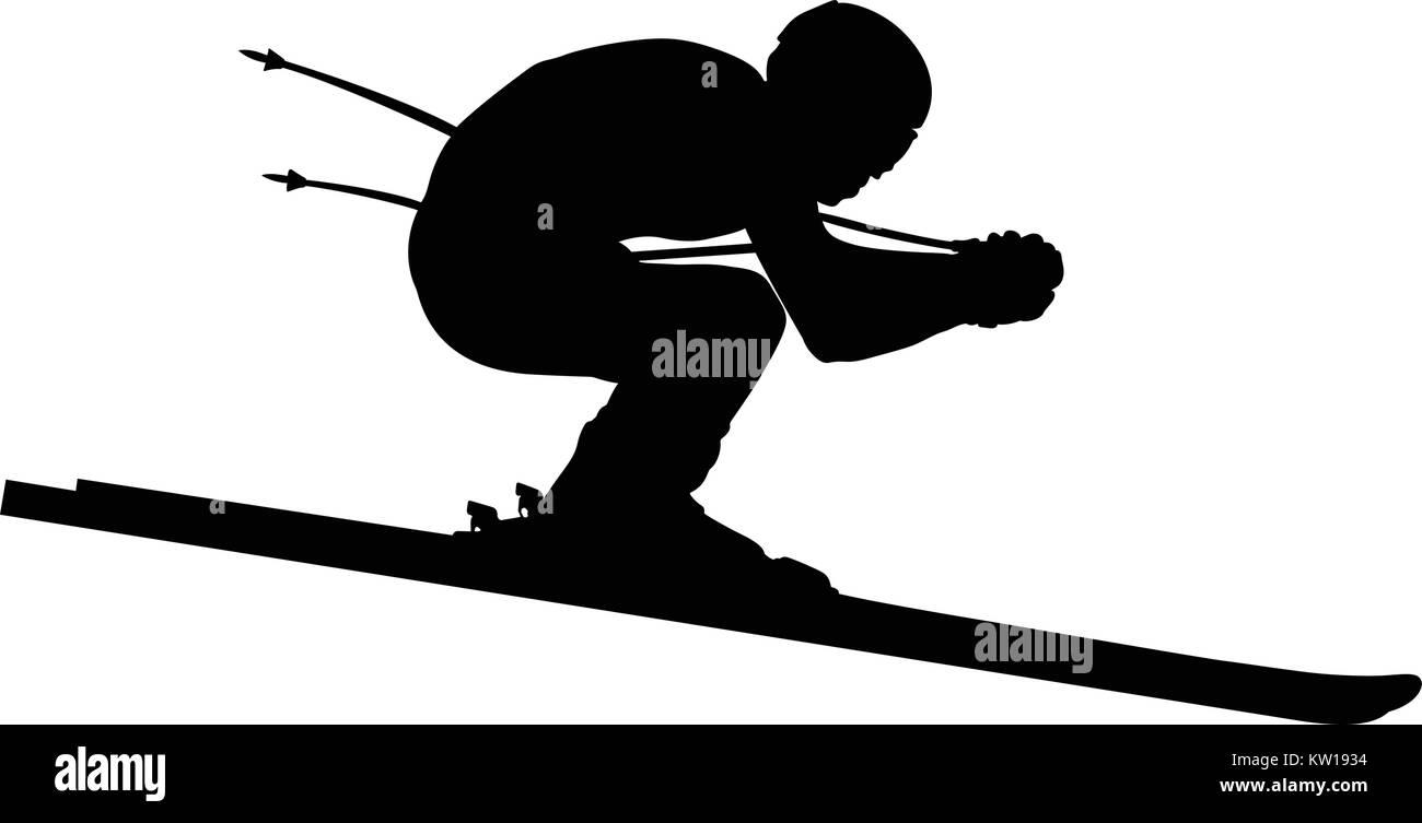 athlete skier downhill alpine skiing black silhouette - Stock Vector