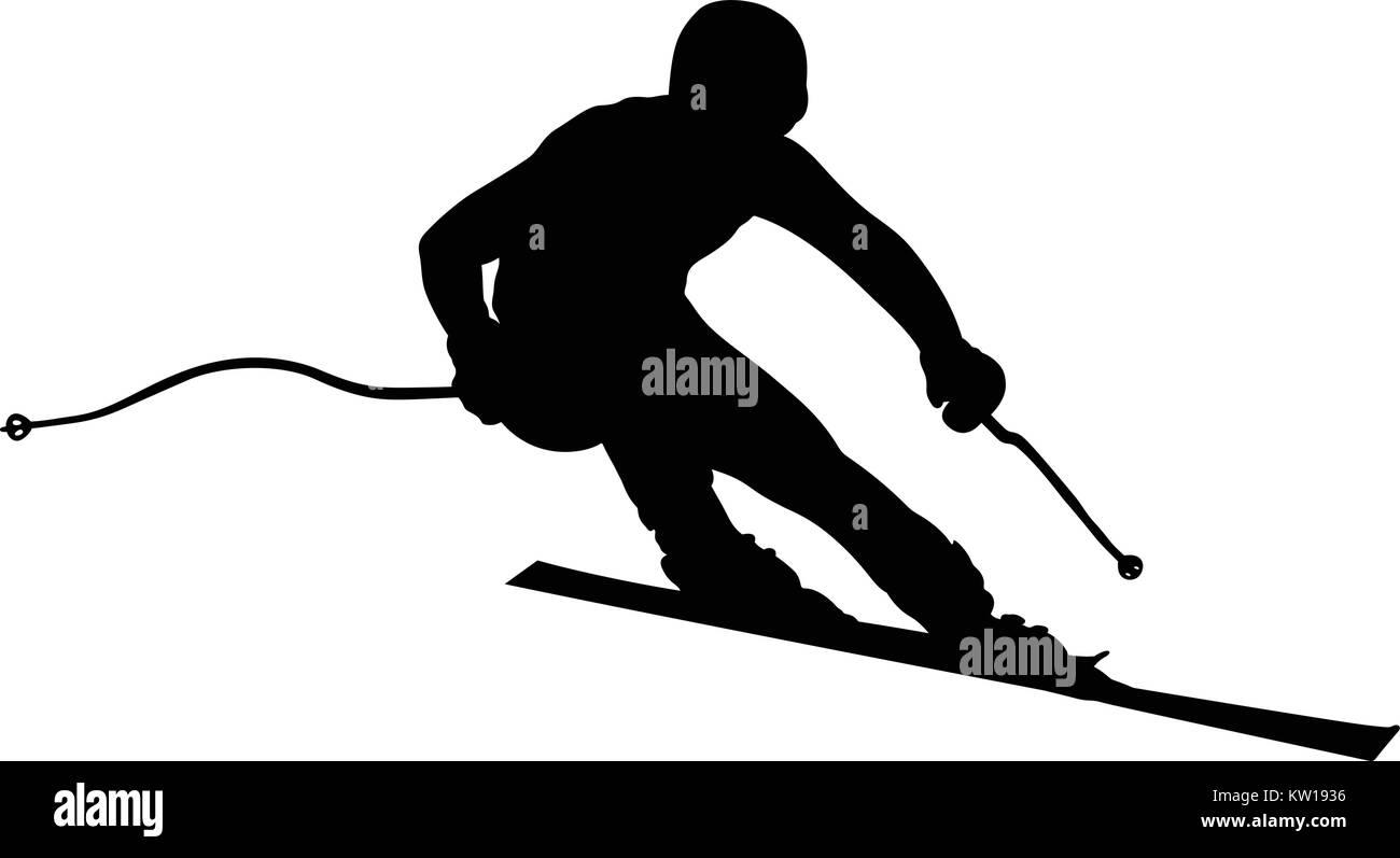 athlete skier super slalom skiing black silhouette - Stock Vector