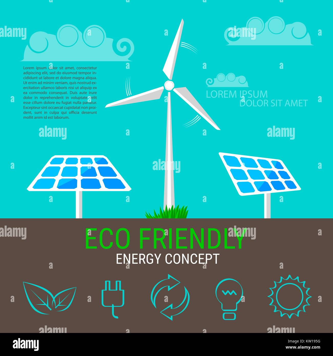 Environment, ecology infographic elements. Wind turbine and solar panels icons - Stock Vector