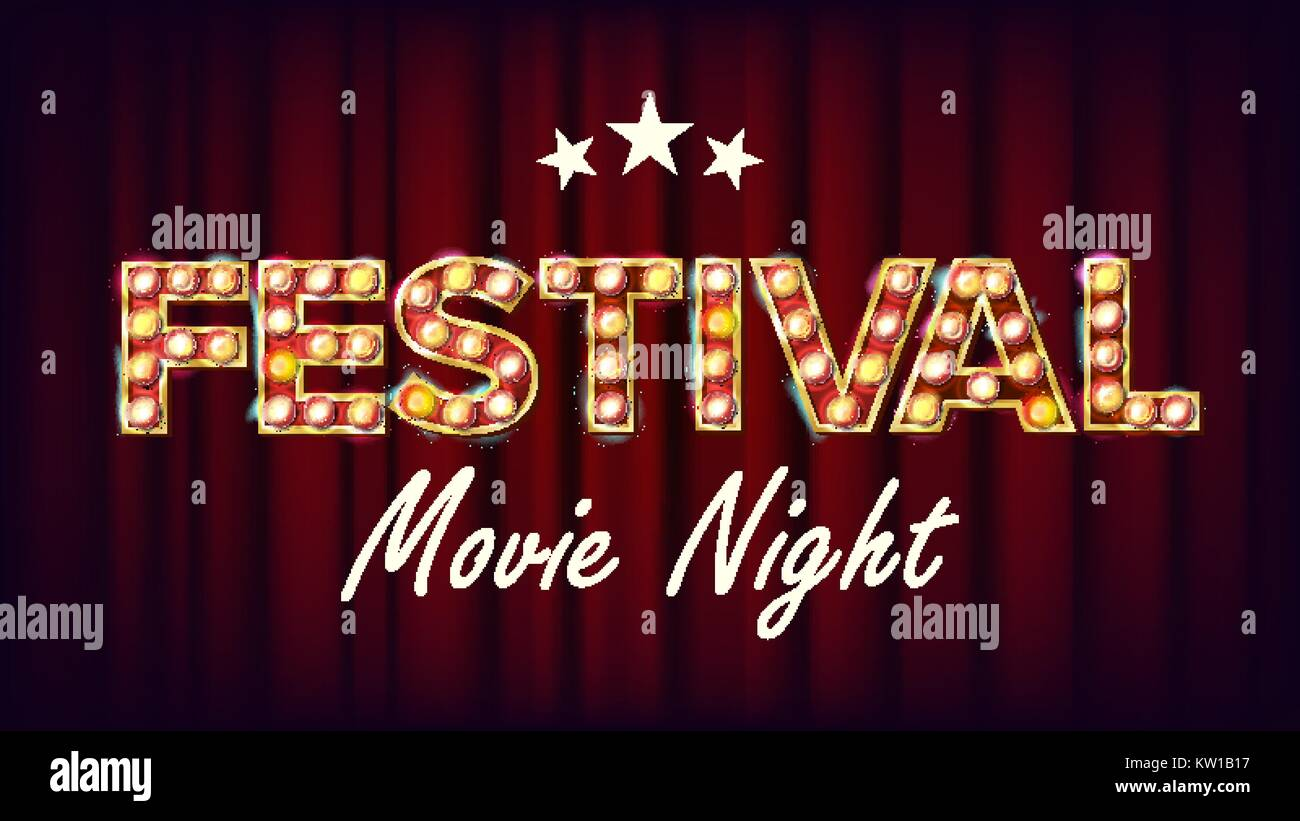 Festival Movie Night Banner Vector. Retro Cinema Shining Light Sign. Cinema Lamp Background. For Concert, Party - Stock Vector