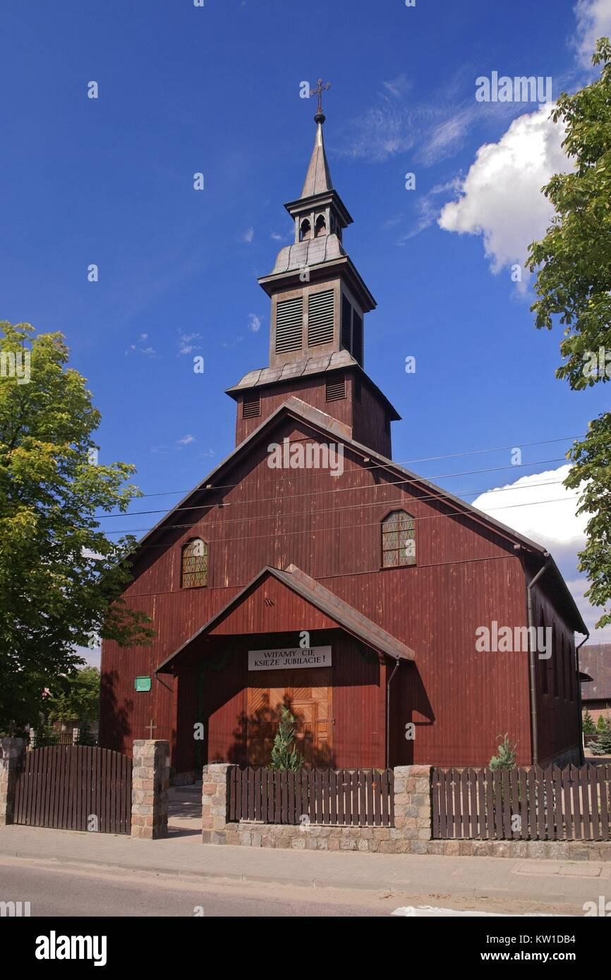 Church Our Lady of the Rosary, Karsin, Pomeranian Voivodeship, Poland. - Stock Image