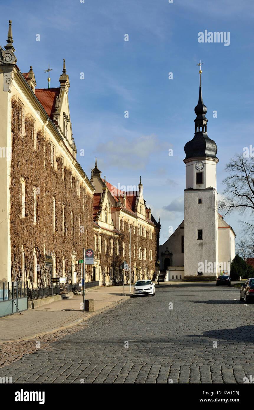 Riesa, Rathaus und Klosterkirche - Stock Image