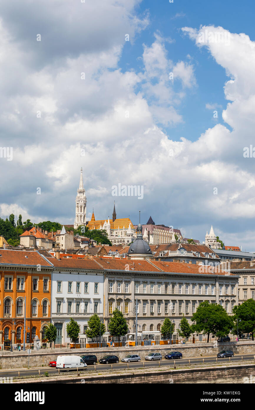 View of Matthias Church and Fisherman's Bastion on the skyline in the Castle district of Buda, Budapest, capital - Stock Image