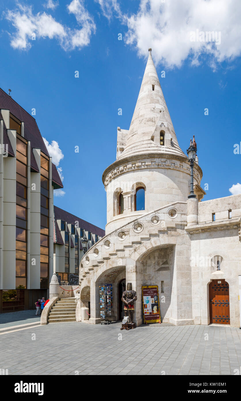 Iconic historic building, Fisherman's Bastion with elaborate architecture, Castle District, Buda, Budapest, - Stock Image