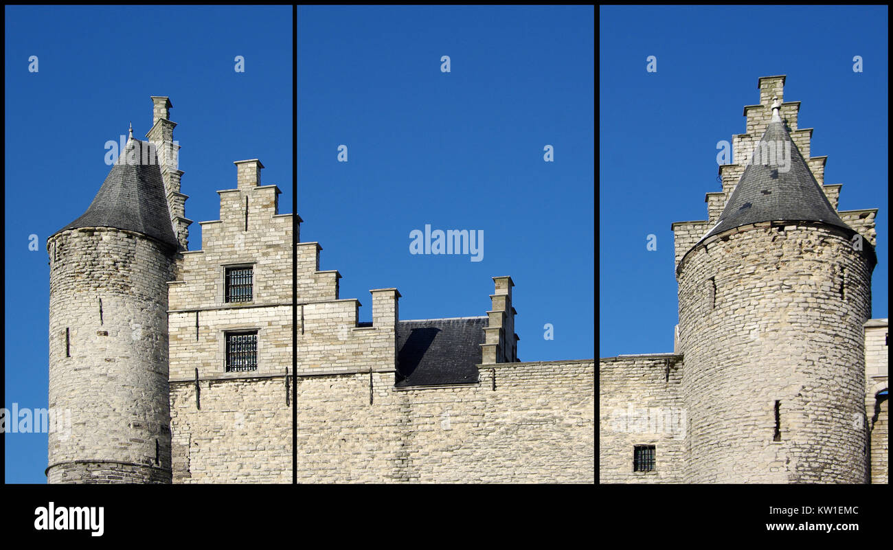 Antwerp, Belgium. The Castle (Triptych: picture molded into 3 fields ...