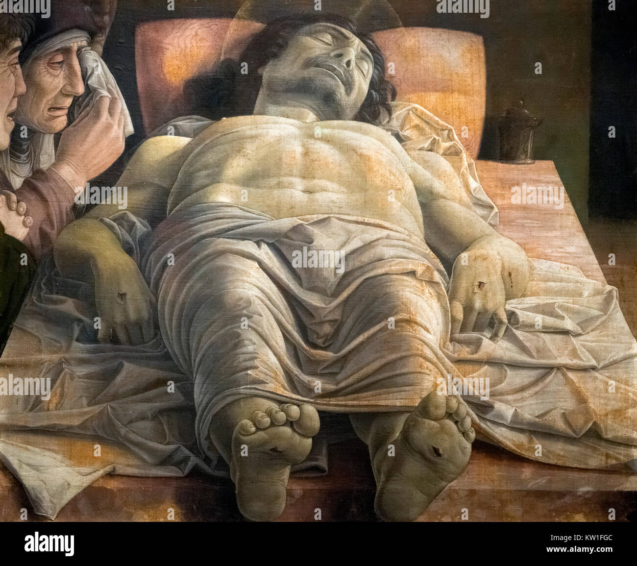 The Lamentation over the Dead Christ by Andrea Mantegna (1431-1506), tempera on canvas, c.1483 - Stock Image