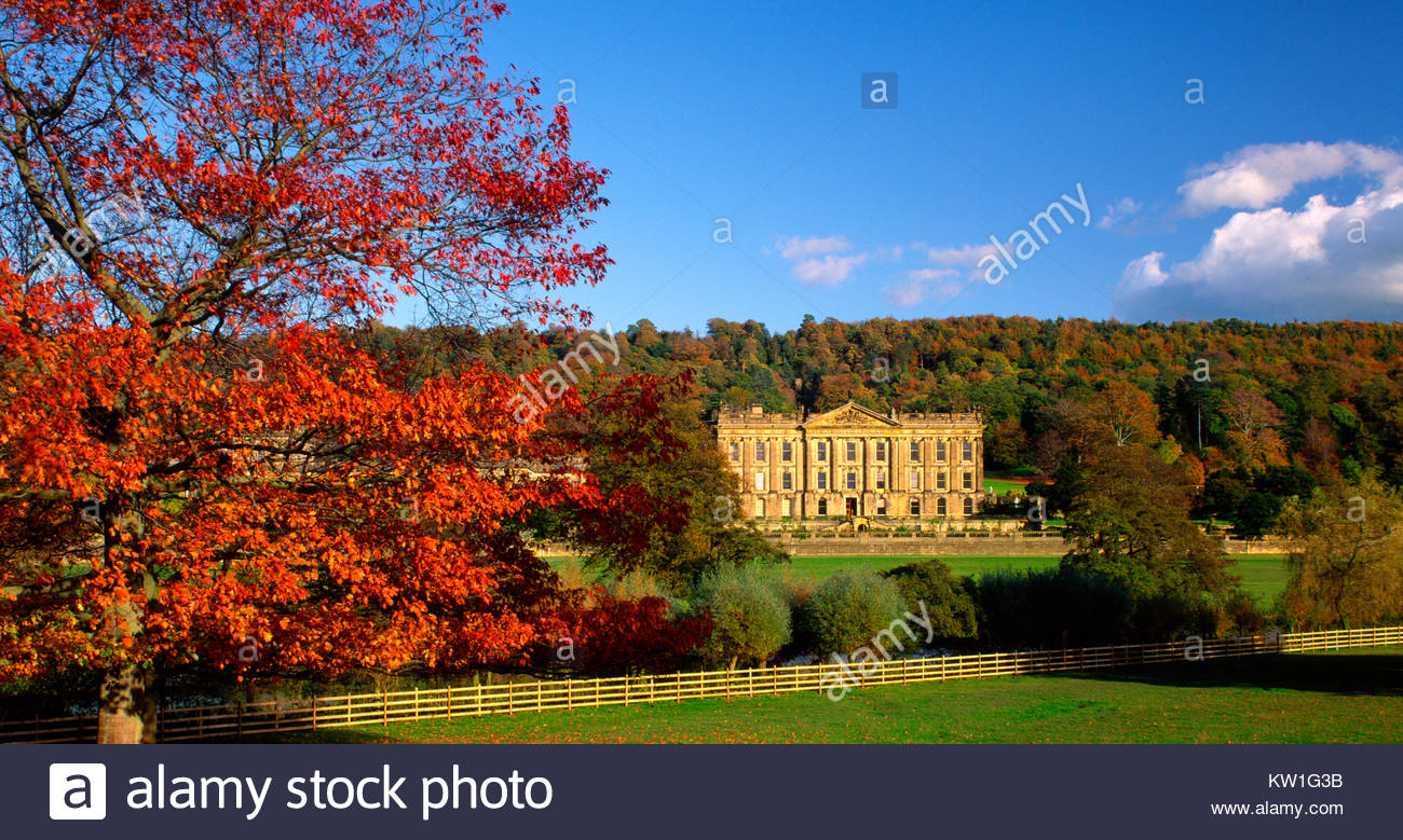 Chatsworth House in autumn, near Bakewell, Derbyshire, England, UK. - Stock Image