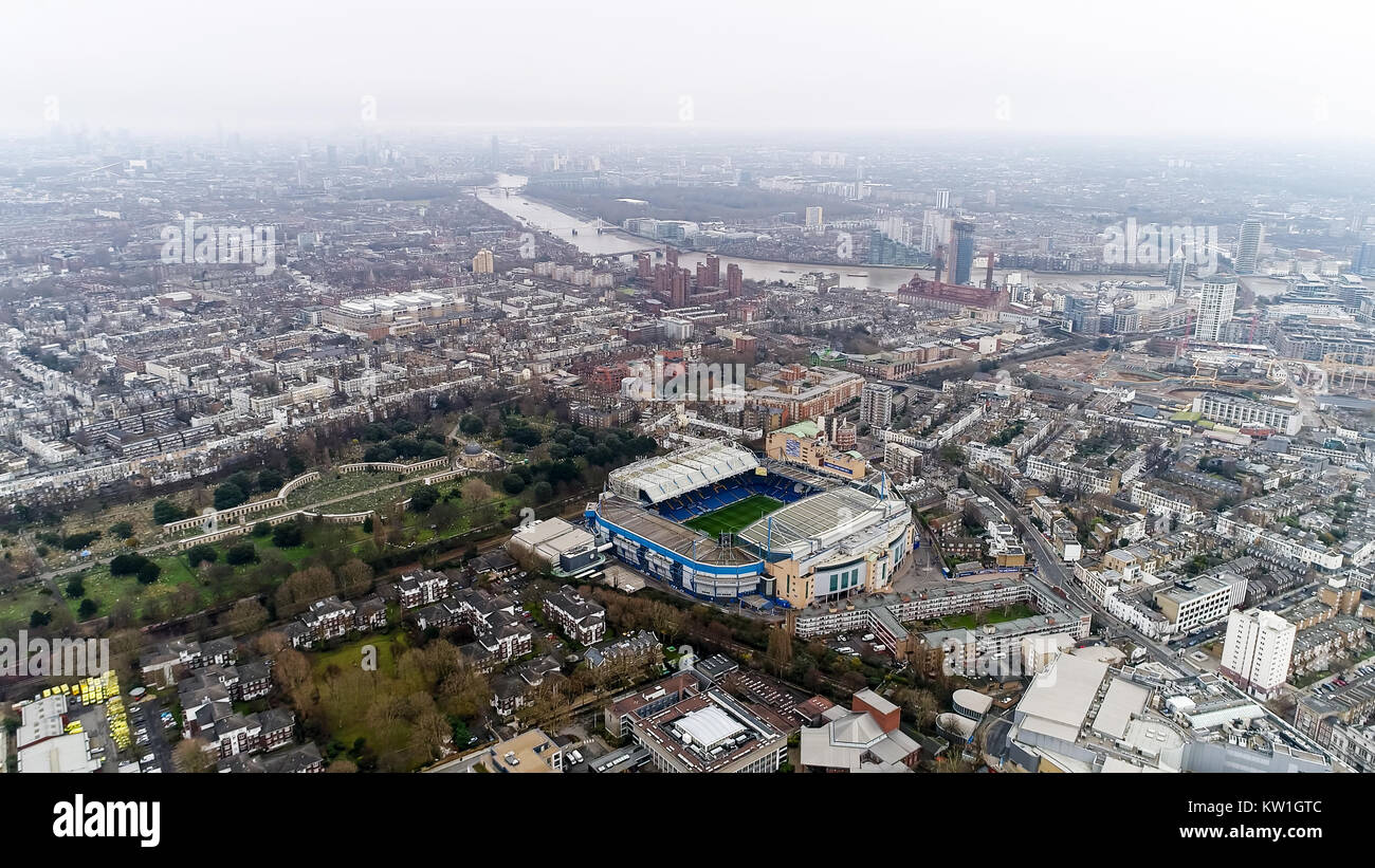 Stamford Bridge Home Ground Stadium of Chelsea Football Club 'The Blues' Aerial Helicopter View Iconic Famous - Stock Image
