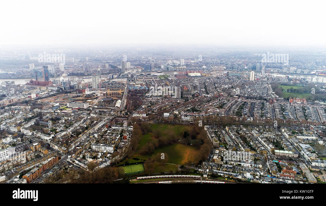Aerial View of Chelsea Fulham and Parsons Green in London City Skyline Residential Neighborhood Drone Shot 4K Ultra - Stock Image