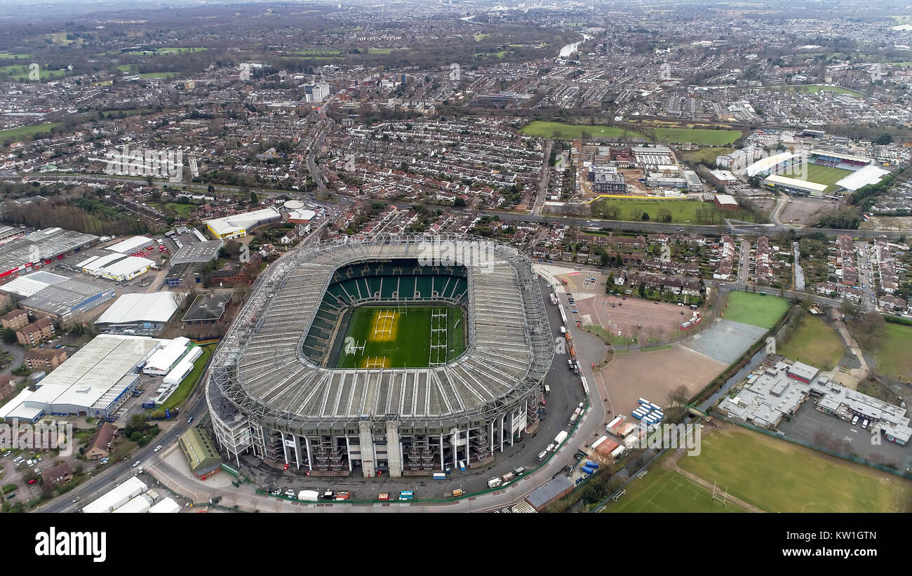 Twickenham Rugby Stadium on December 20, 2017 Flying by Aerial View Iconic Twickenham Stadium in London and the - Stock Image