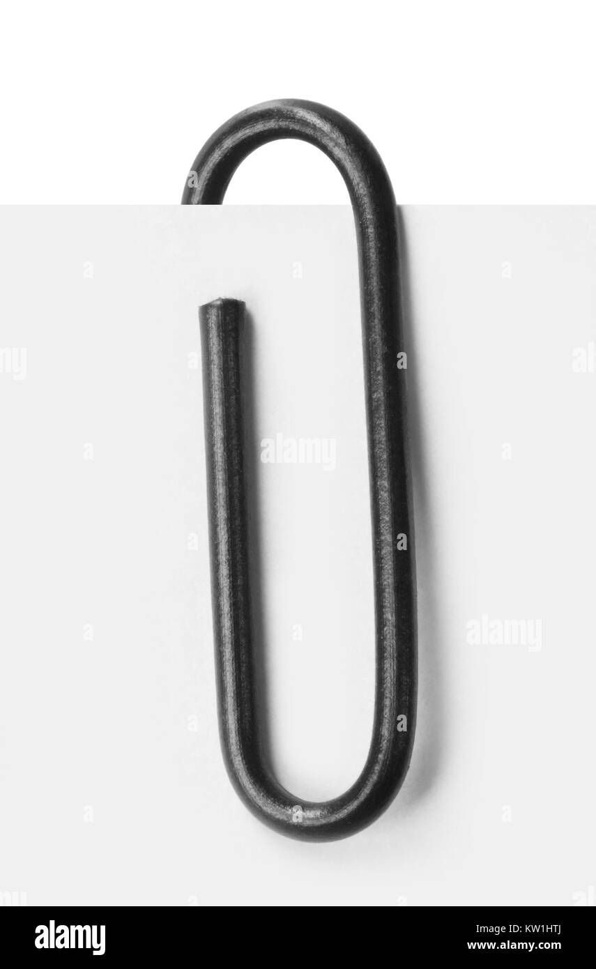 Close up of a black paper clip - Stock Image