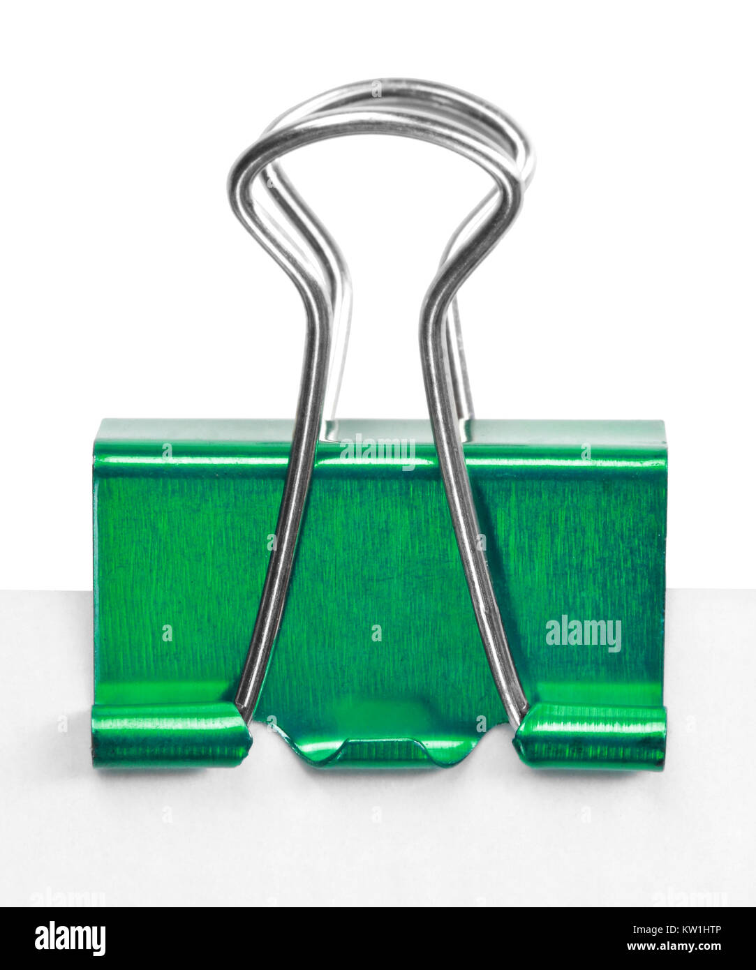 Close up of a green binder clip - Stock Image