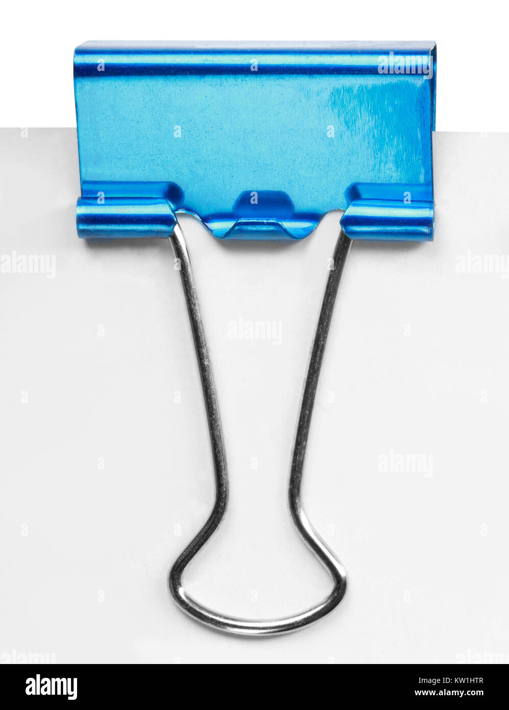 Close up of a blue binder clip - Stock Image
