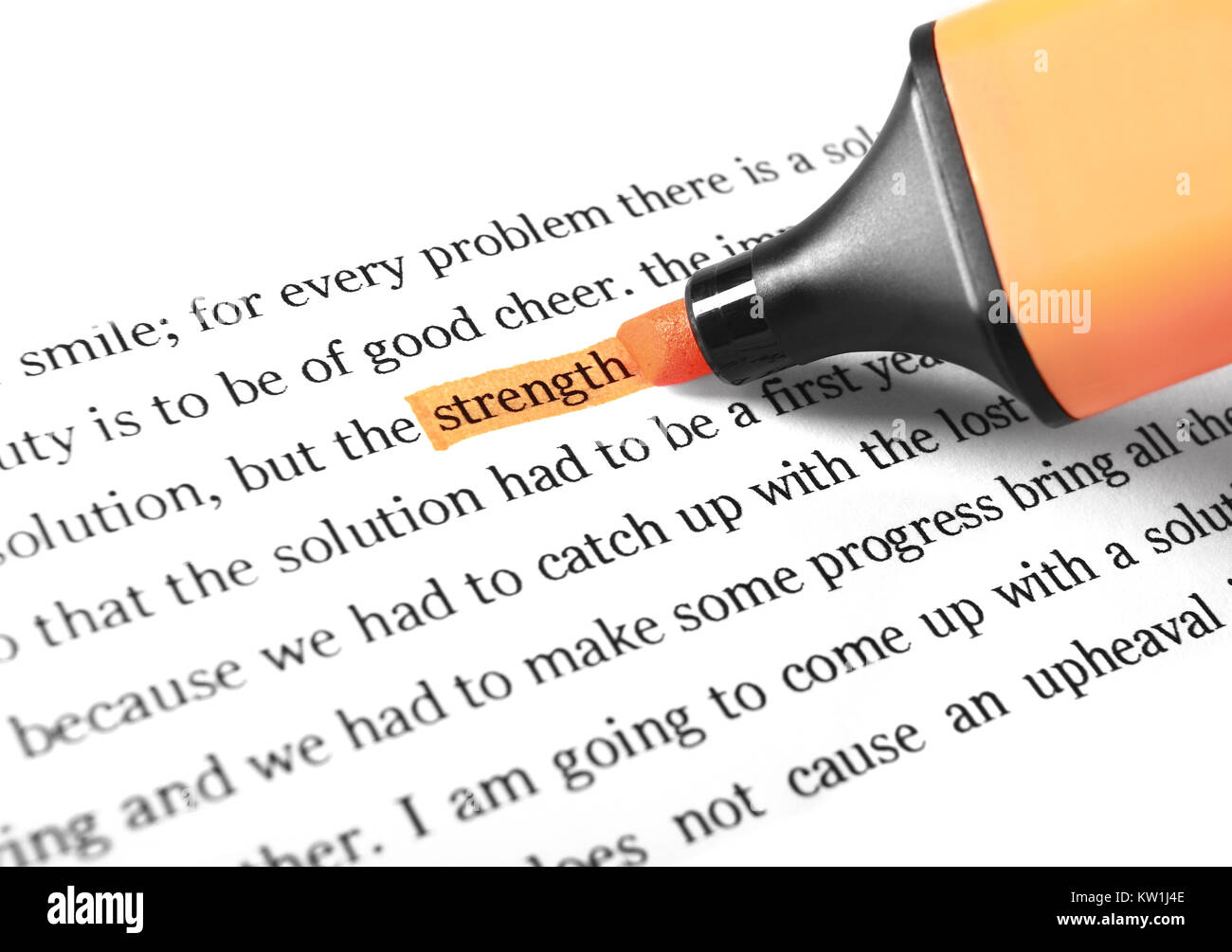 Highlighter and word strength - Stock Image
