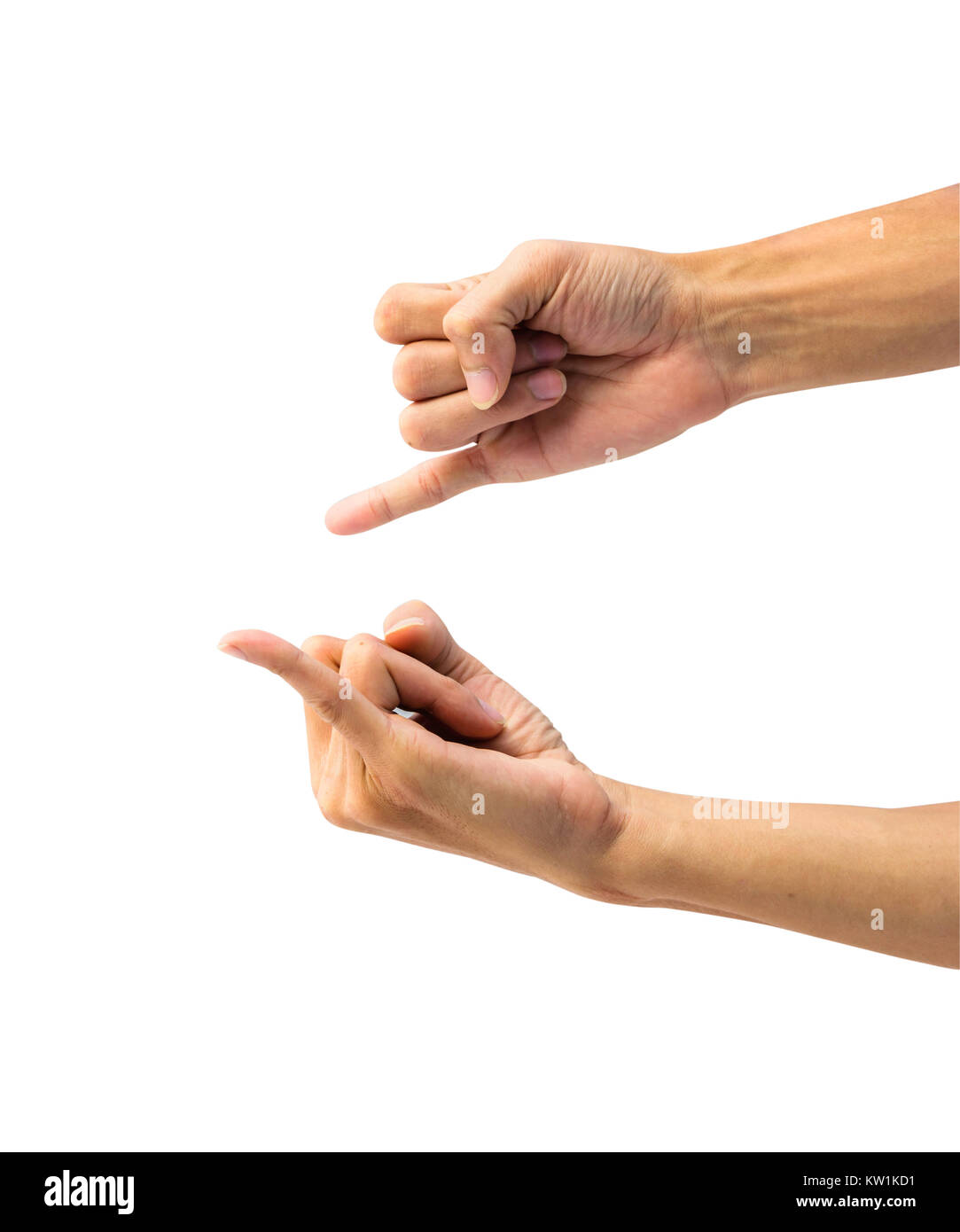 Hand showing  gesture sign, symbol of promise isolated on white background with clipping path. - Stock Image