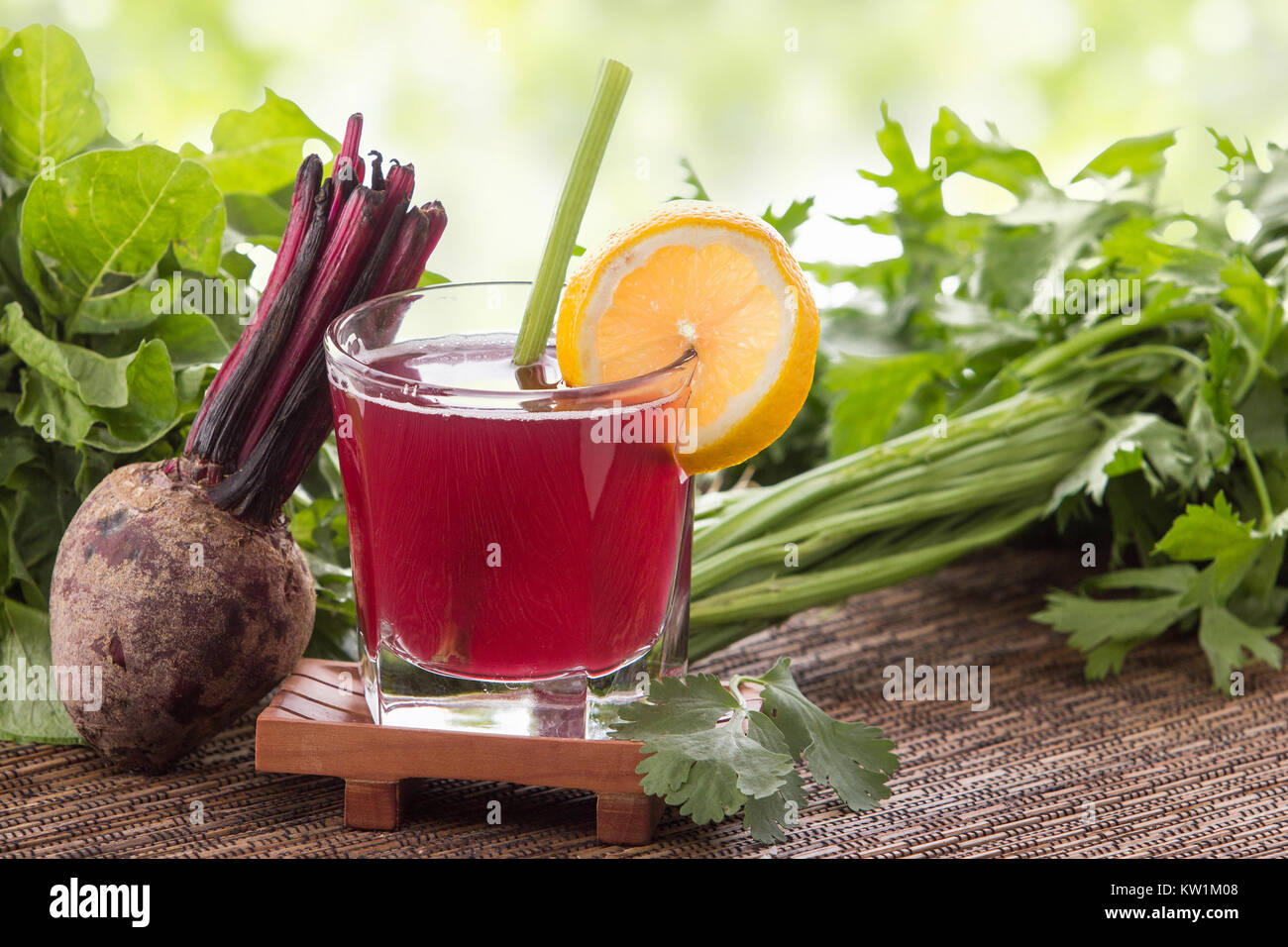 Beet and vegetables mix juice - Stock Image
