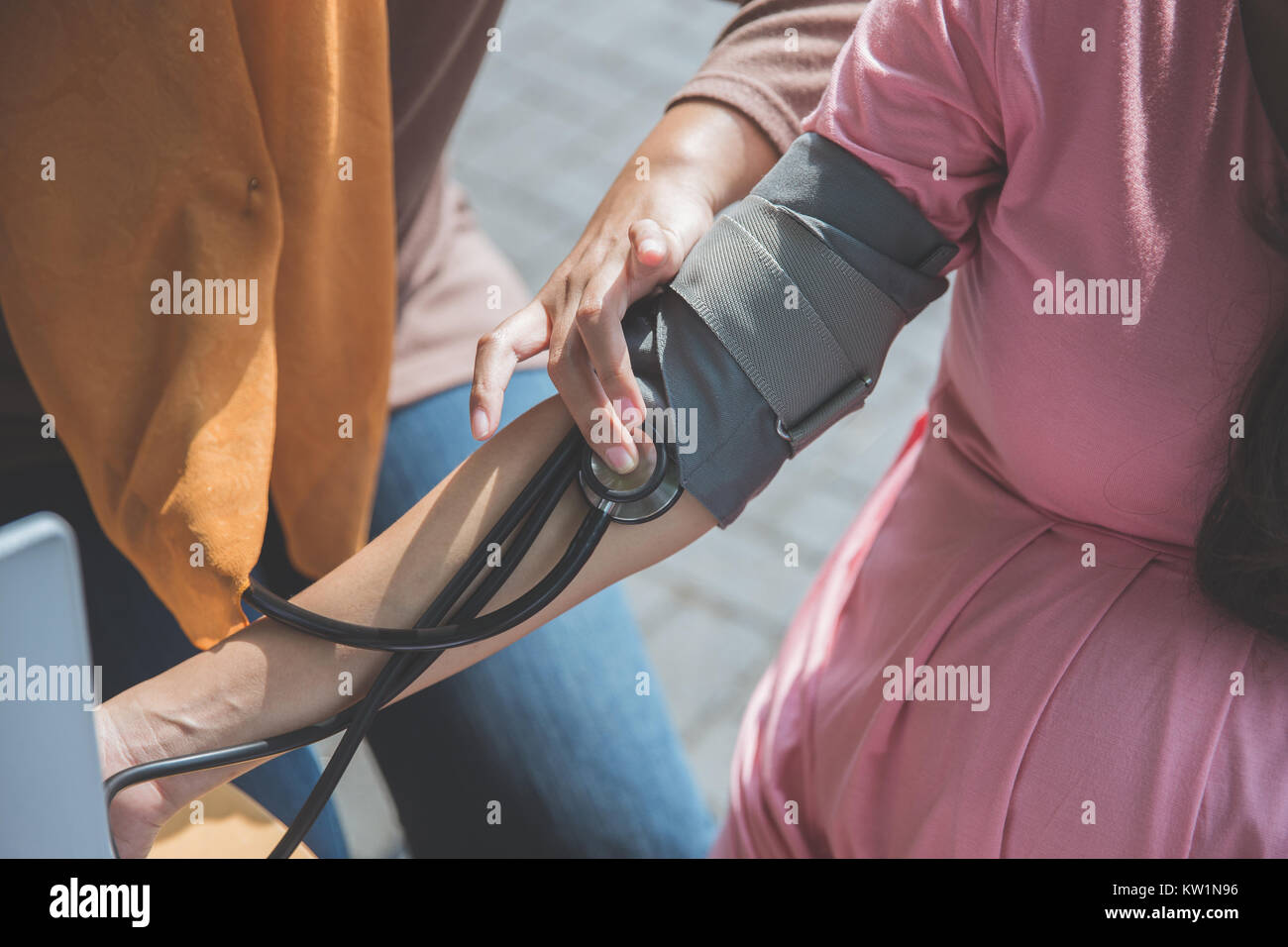 Blood pressure measuring, close up - Stock Image