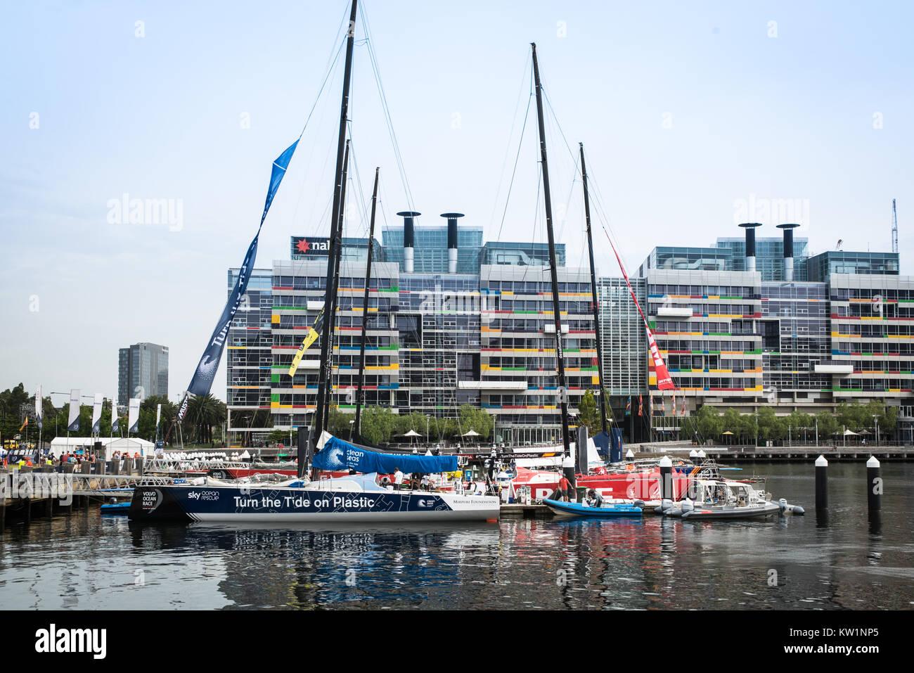 Yachts Docked in Docklands Melbourne, Volvo Ocean Race - Stock Image