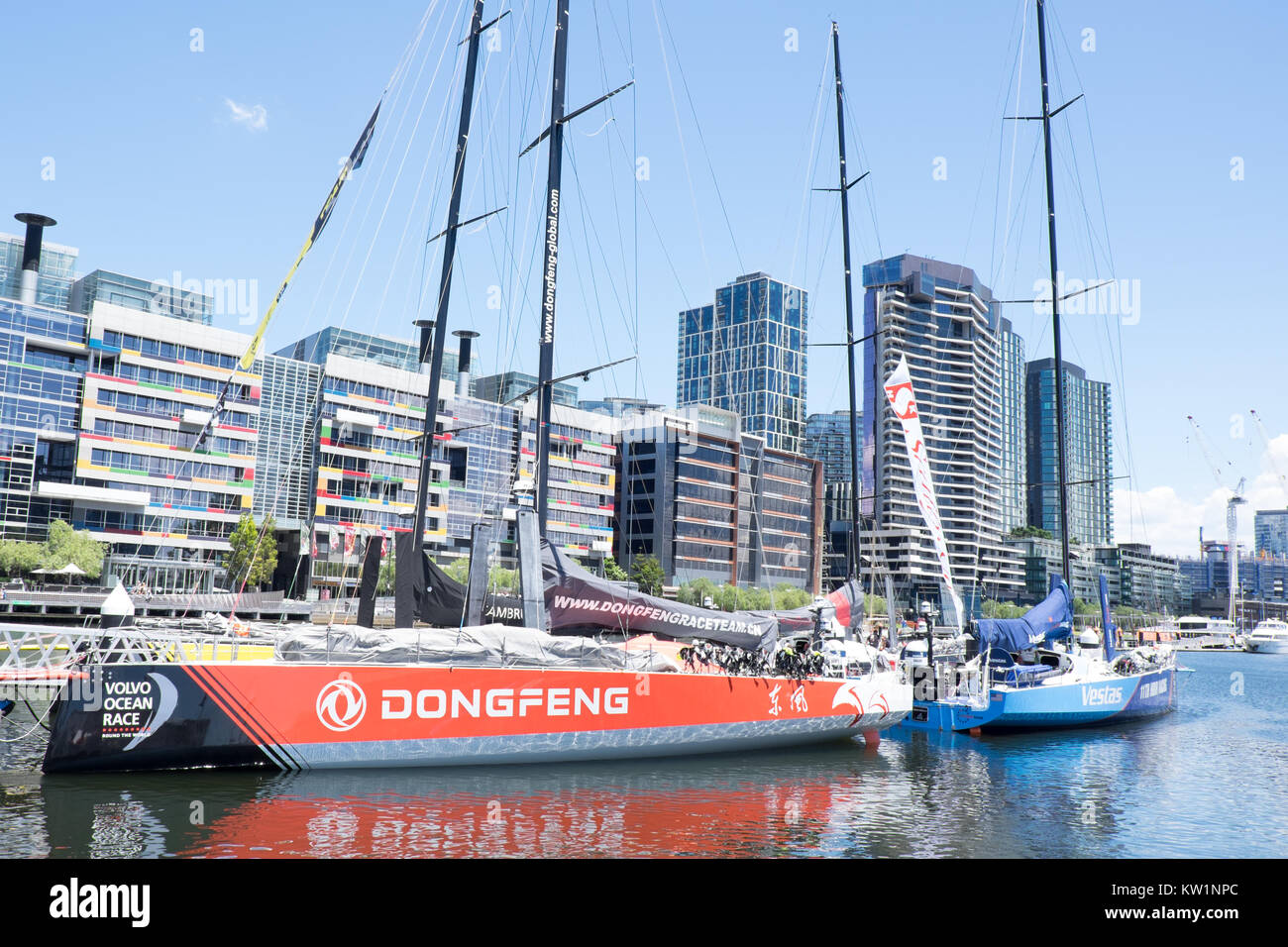 Dongfeng Yacht Docked in Docklands Melbourne, Volvo Ocean Race - Stock Image