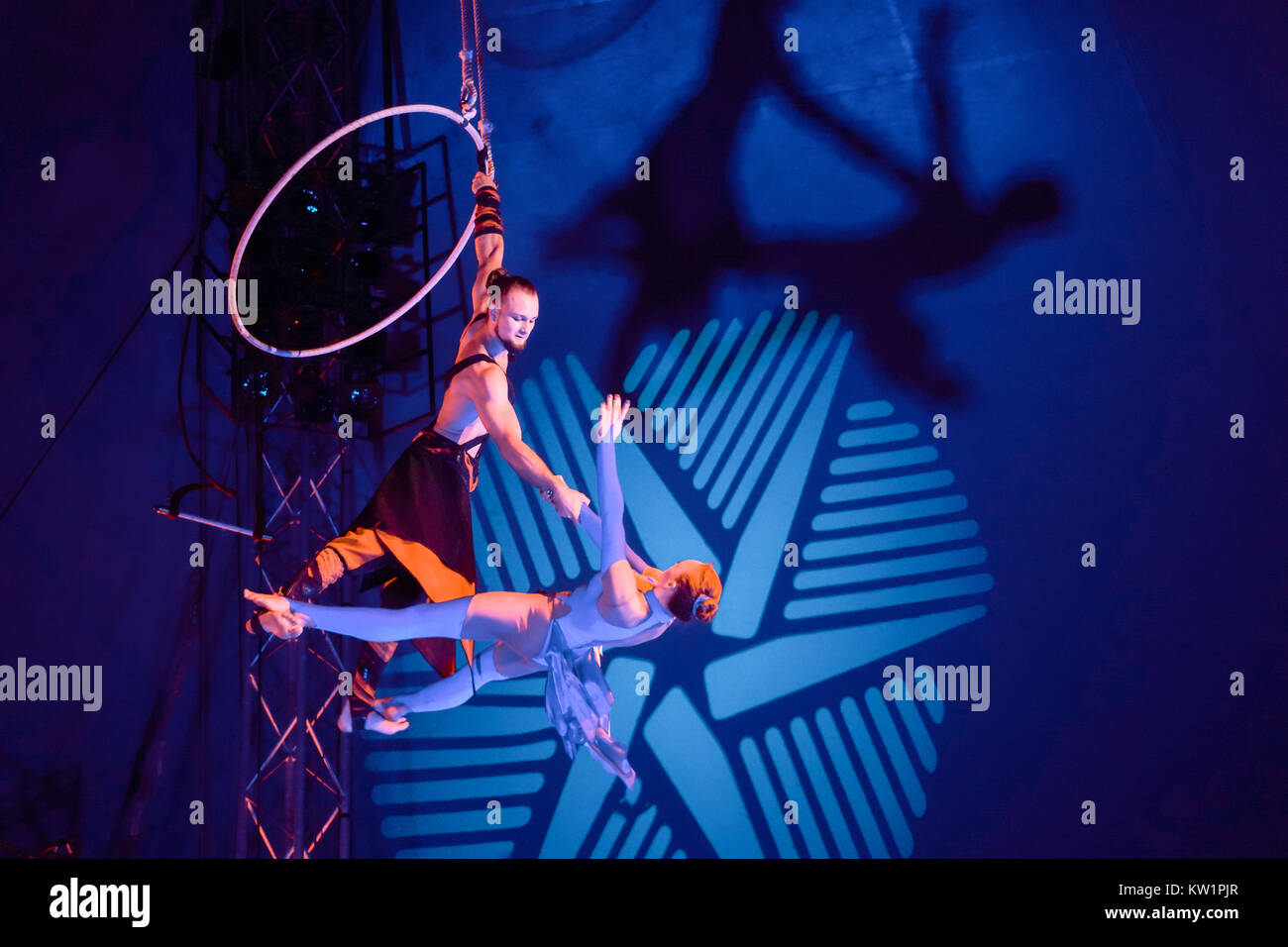 London, UK. 28th Dec, 2017. Performers on the arial hoop at The Moscow State Circus under the big top in Ealing, - Stock Image