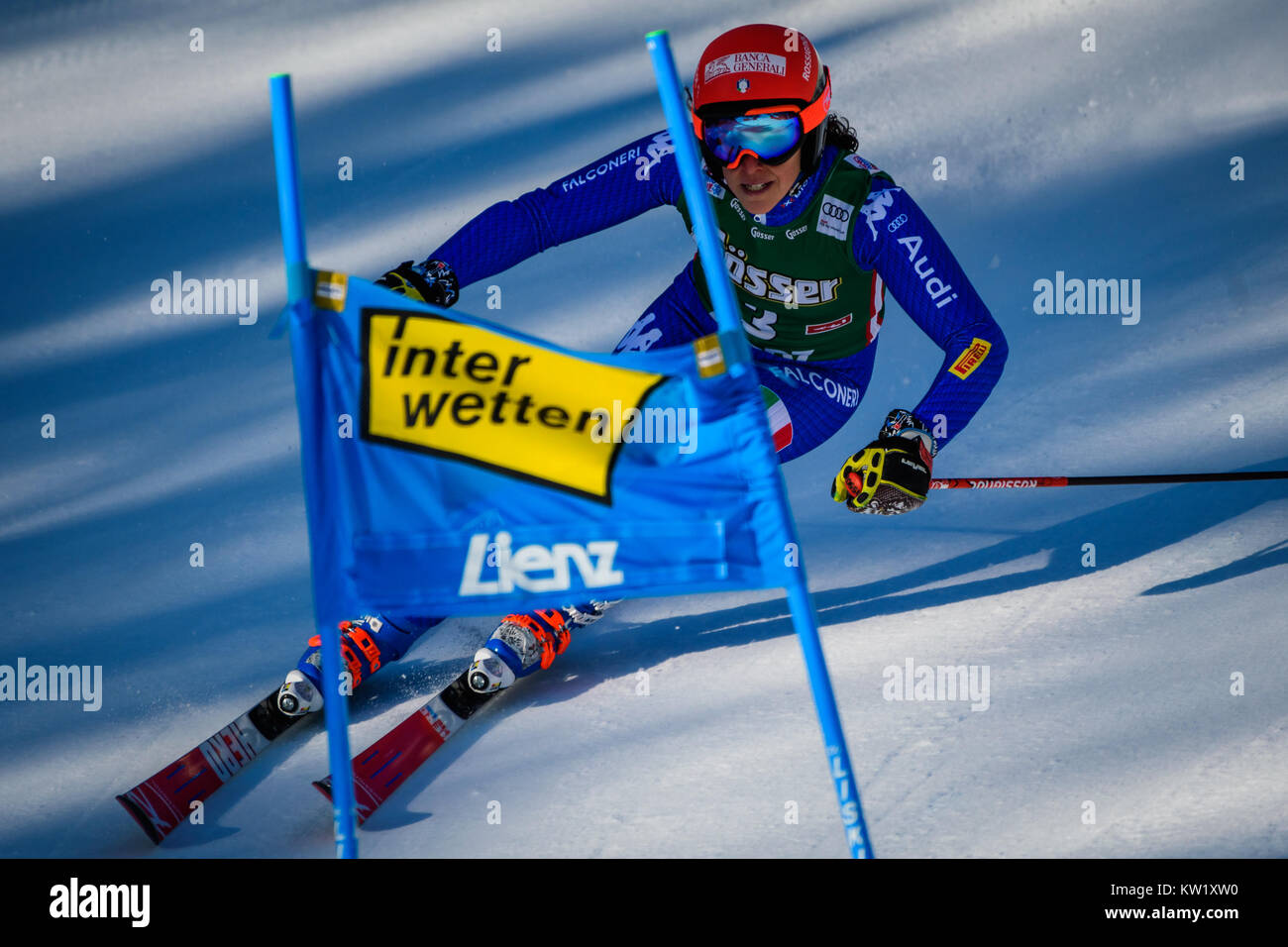 Lienz, Austria. 29th Dec, 2017. Frederica Brignone of Italy competes during the FIS World Cup Ladies Giant Slalom - Stock Image