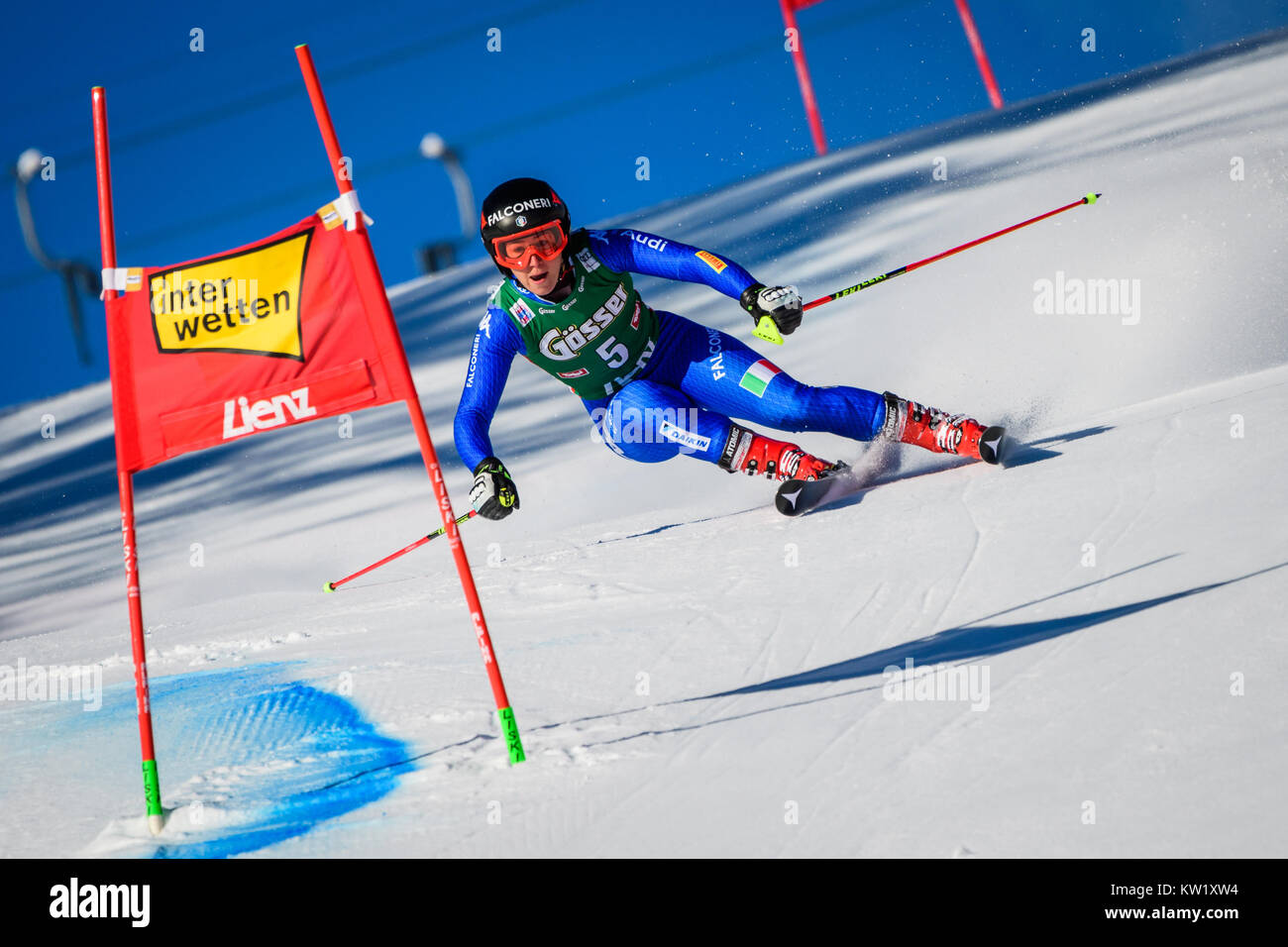 Lienz, Austria. 29th Dec, 2017. Sofia Goggia of Italy competes during the FIS World Cup Ladies Giant Slalom race - Stock Image