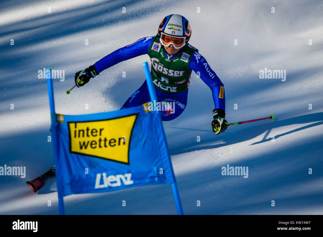 Lienz, Austria. 29th Dec, 2017. Manuela Moelgg of Italy competes during the FIS World Cup Ladies Giant Slalom race - Stock Image