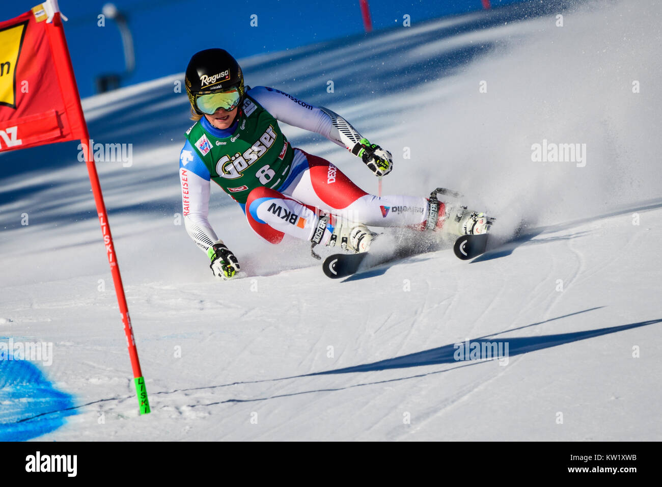 Lienz, Austria. 29th Dec, 2017. Lara Gut of Switzerland competes during the FIS World Cup Ladies Giant Slalom race - Stock Image