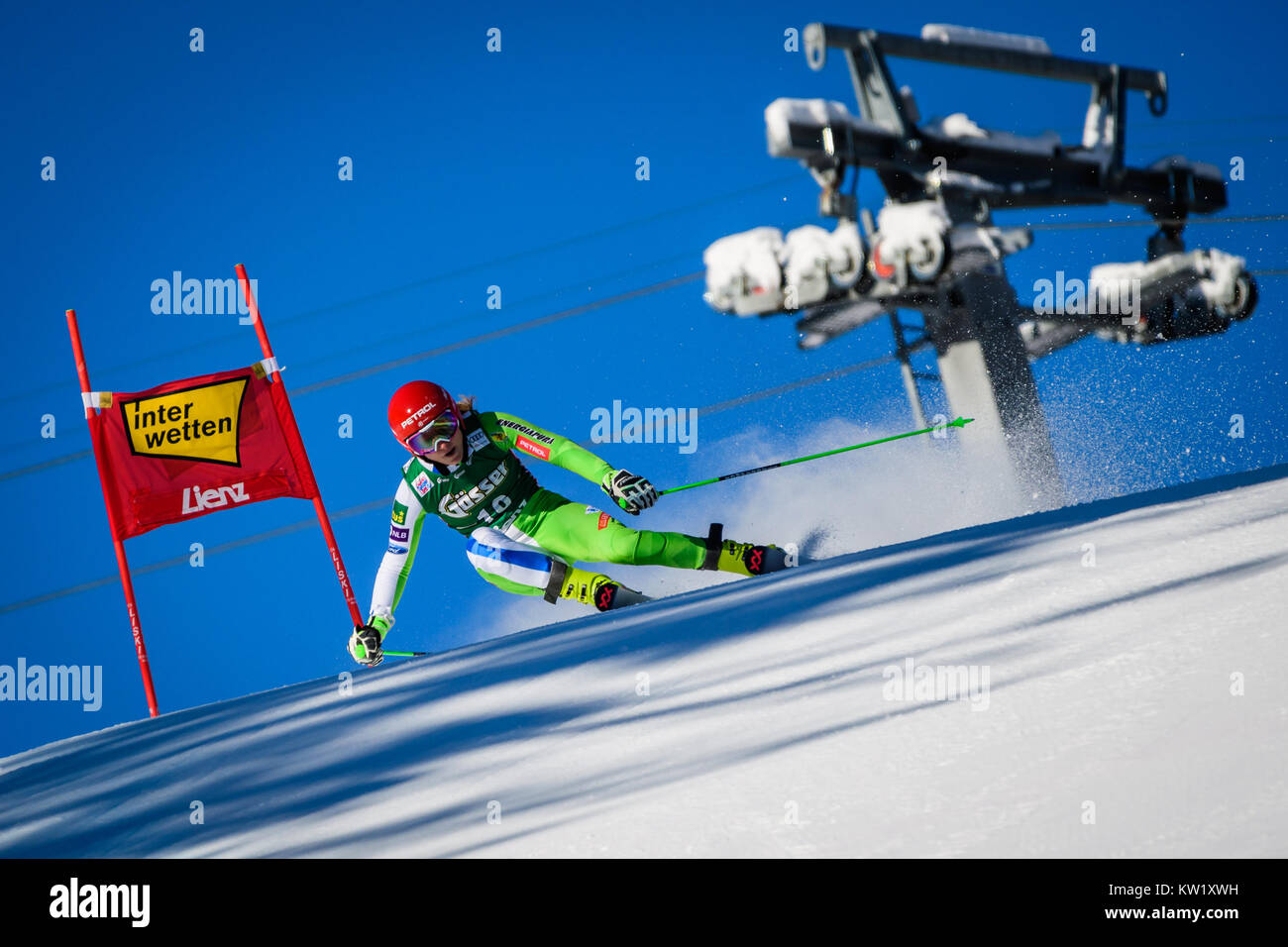 Lienz, Austria. 29th Dec, 2017. Ana Drev of Slovenia competes during the FIS World Cup Ladies Giant Slalom race - Stock Image