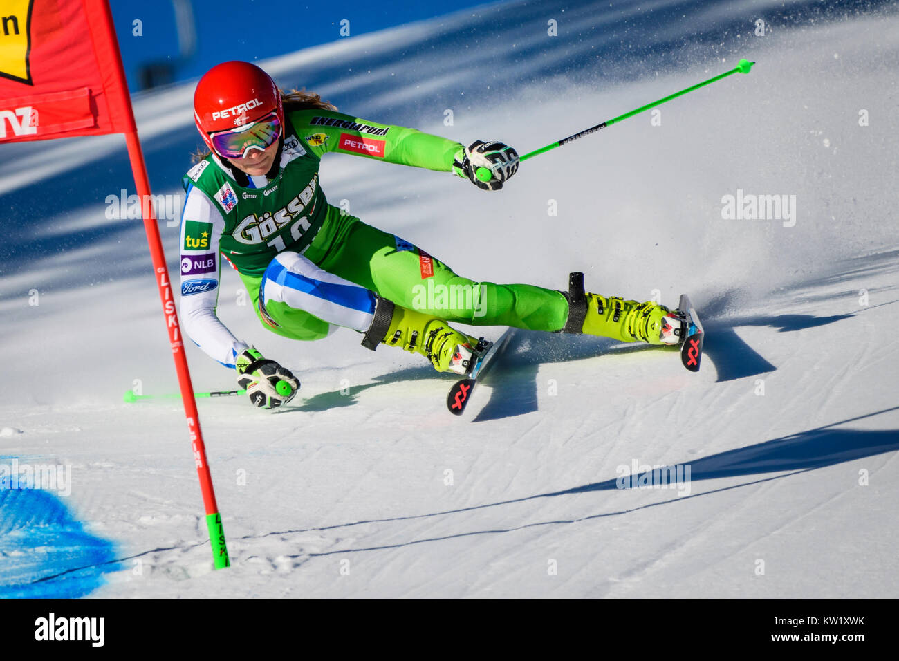 Lienz, Austria. 29th Dec, 2017. Ana Drev of Slovenia competes during the FIS World Cup Ladies Giant Slalom race Stock Photo