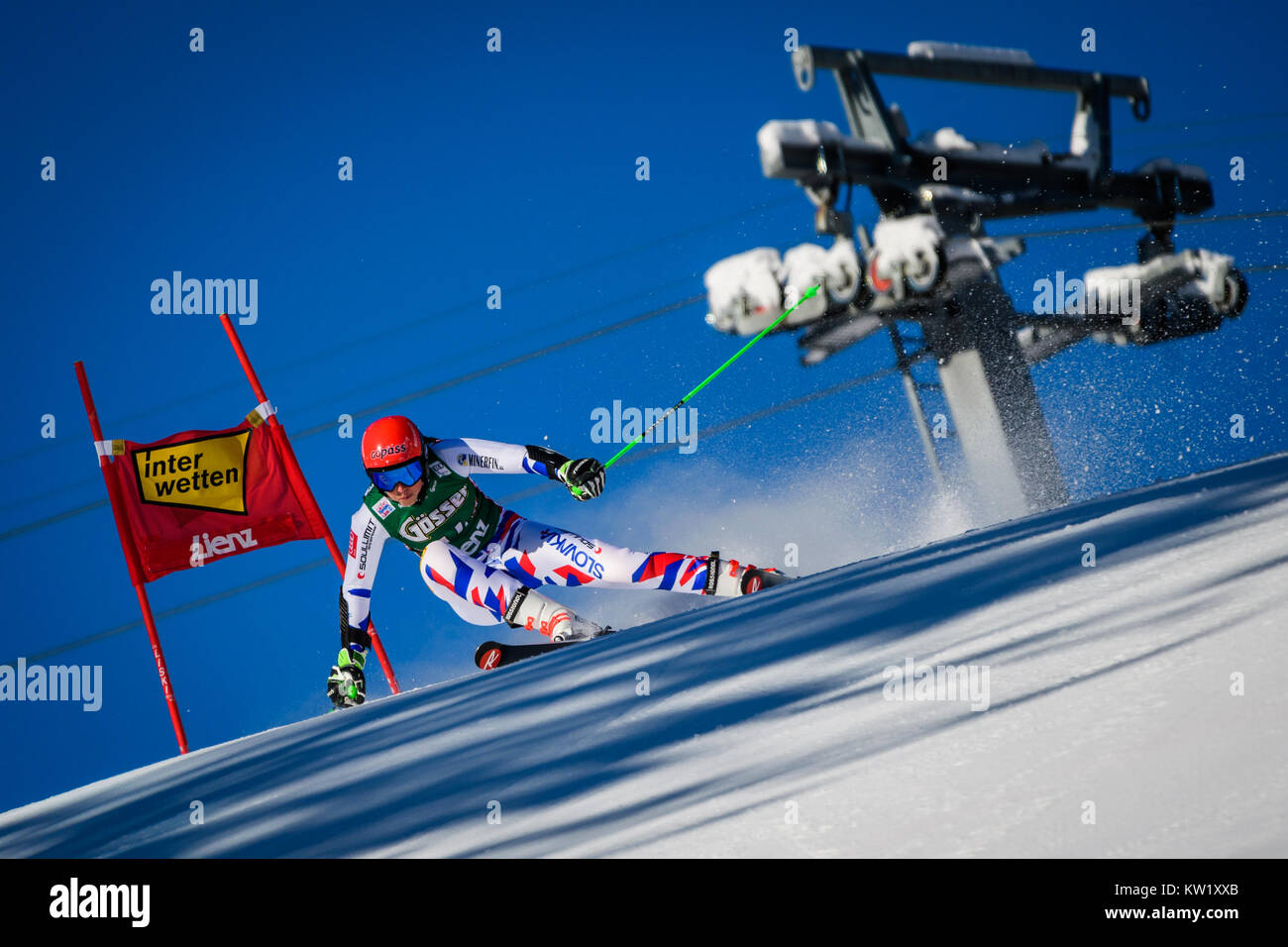Lienz, Austria. 29th Dec, 2017. Petra Vlhova of Slovakia competes during the FIS World Cup Ladies Giant Slalom race - Stock Image