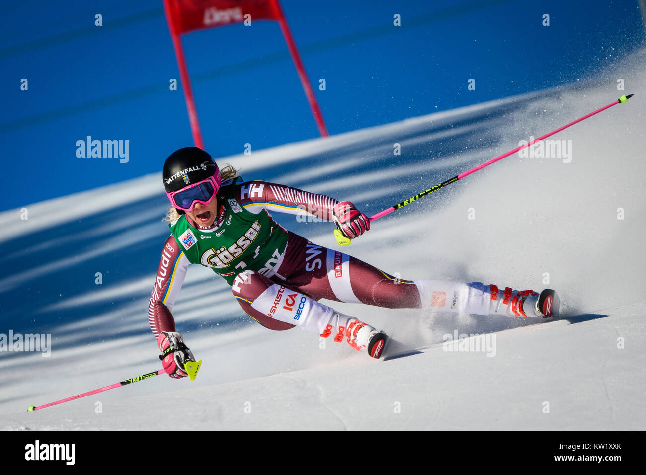Lienz, Austria. 29th Dec, 2017. Frida Hansdotter of Sweden competes during the FIS World Cup Ladies Giant Slalom - Stock Image