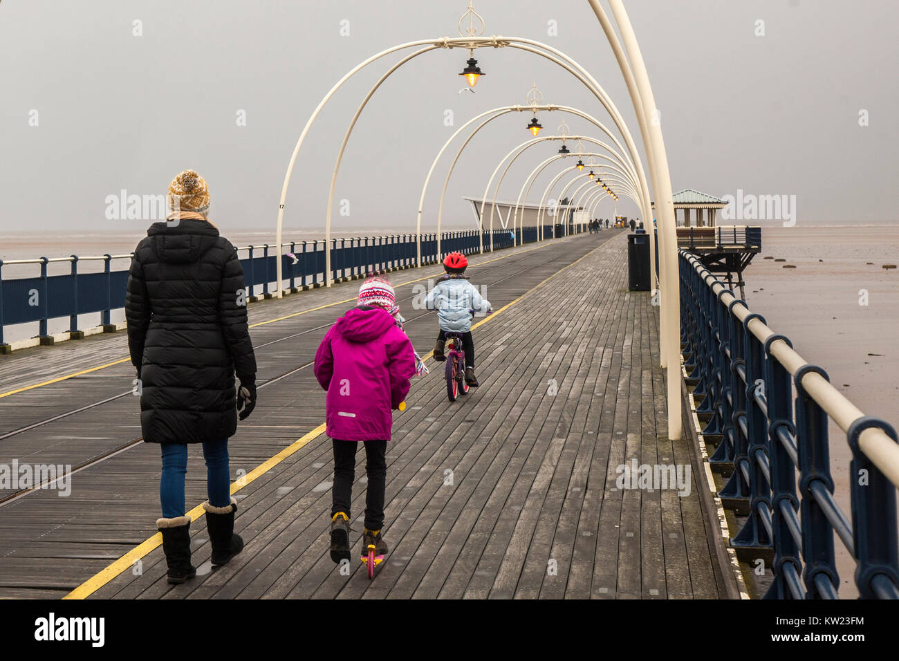 Southport, Merseyside, UK 30th December 2017. UK Weather. Wet, Showery day as Storm Dylan approaches with winds - Stock Image