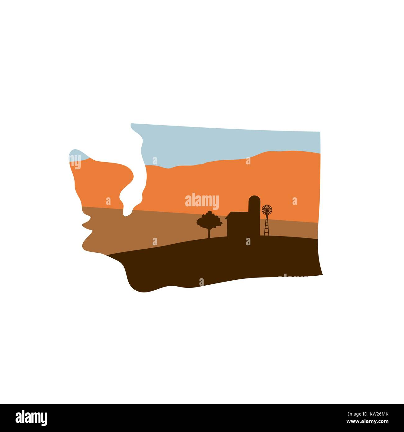 Washington State Shape w Farm at Sunset with Windmill, Barn, and a Tree - Stock Vector