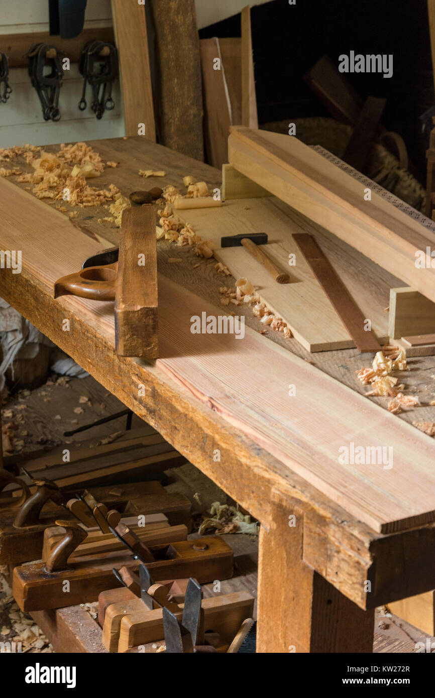 tolls in Colonial Williamsburg cabinetmaker shop. - Stock Image