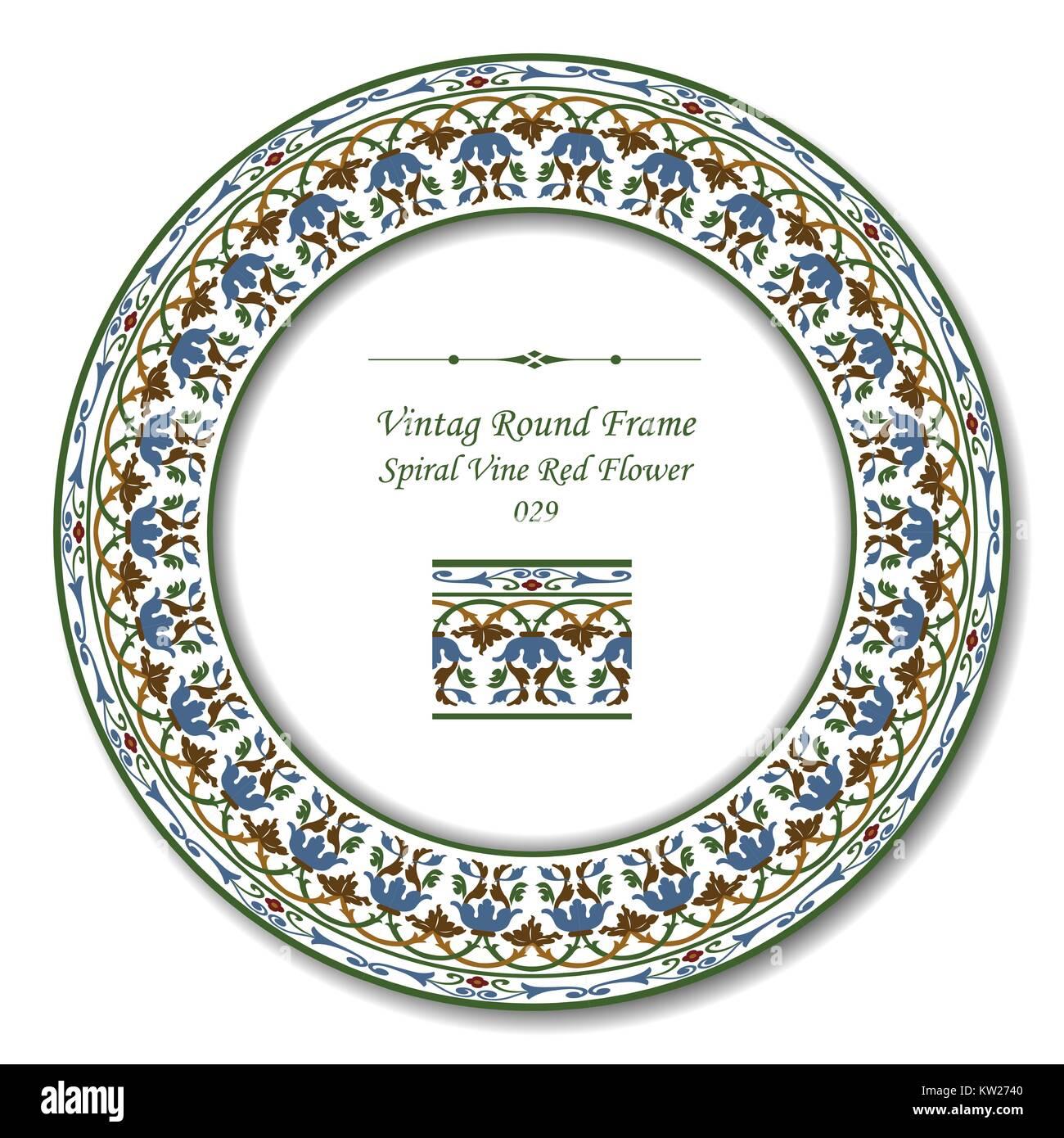 Vintage Round Retro Frame of Botanic Garden Spiral Vine Red Flower Stock Vector