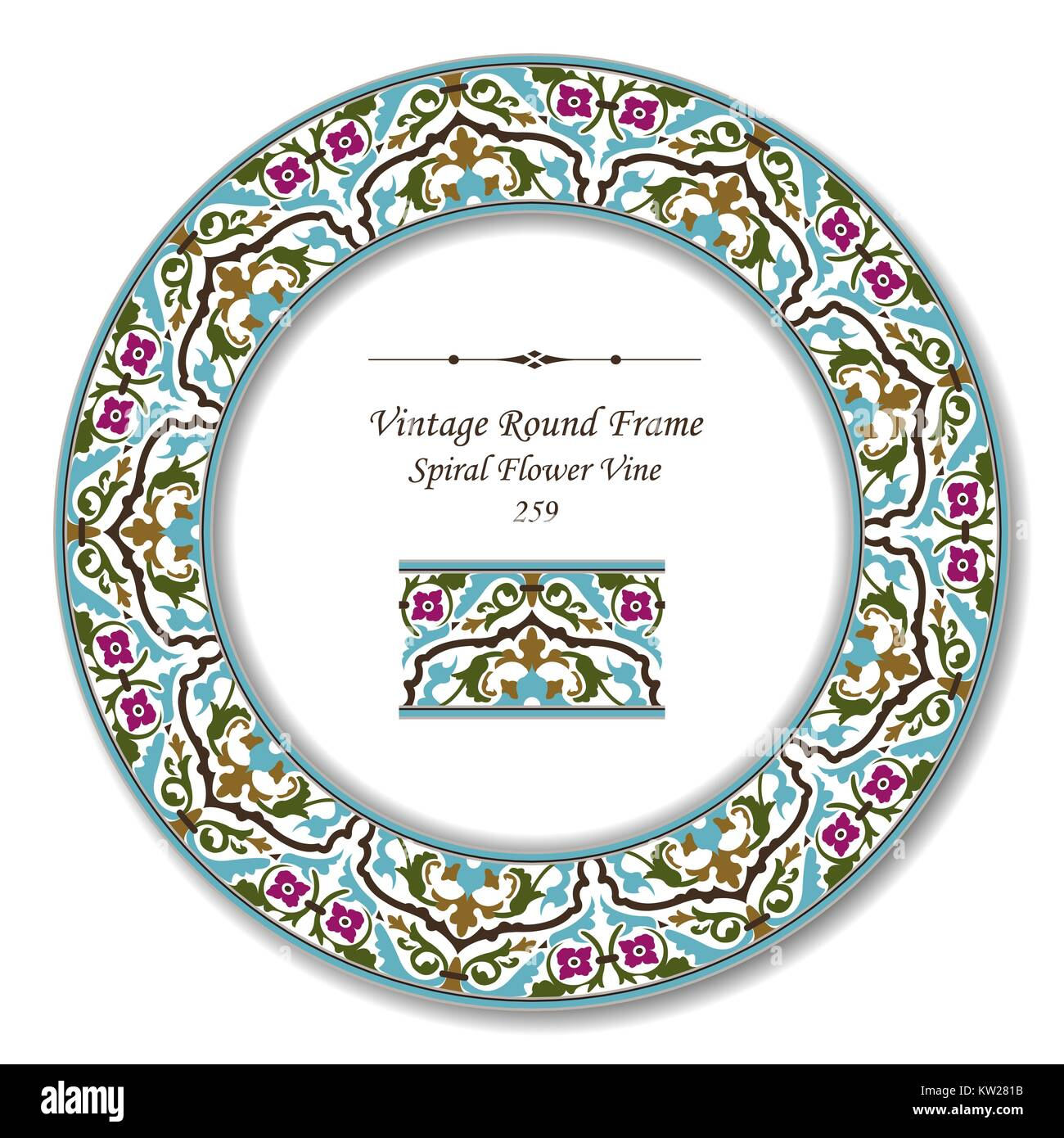 Vintage Round Retro Frame of Botanic Garden Cross Spiral Flower Vine Stock Vector